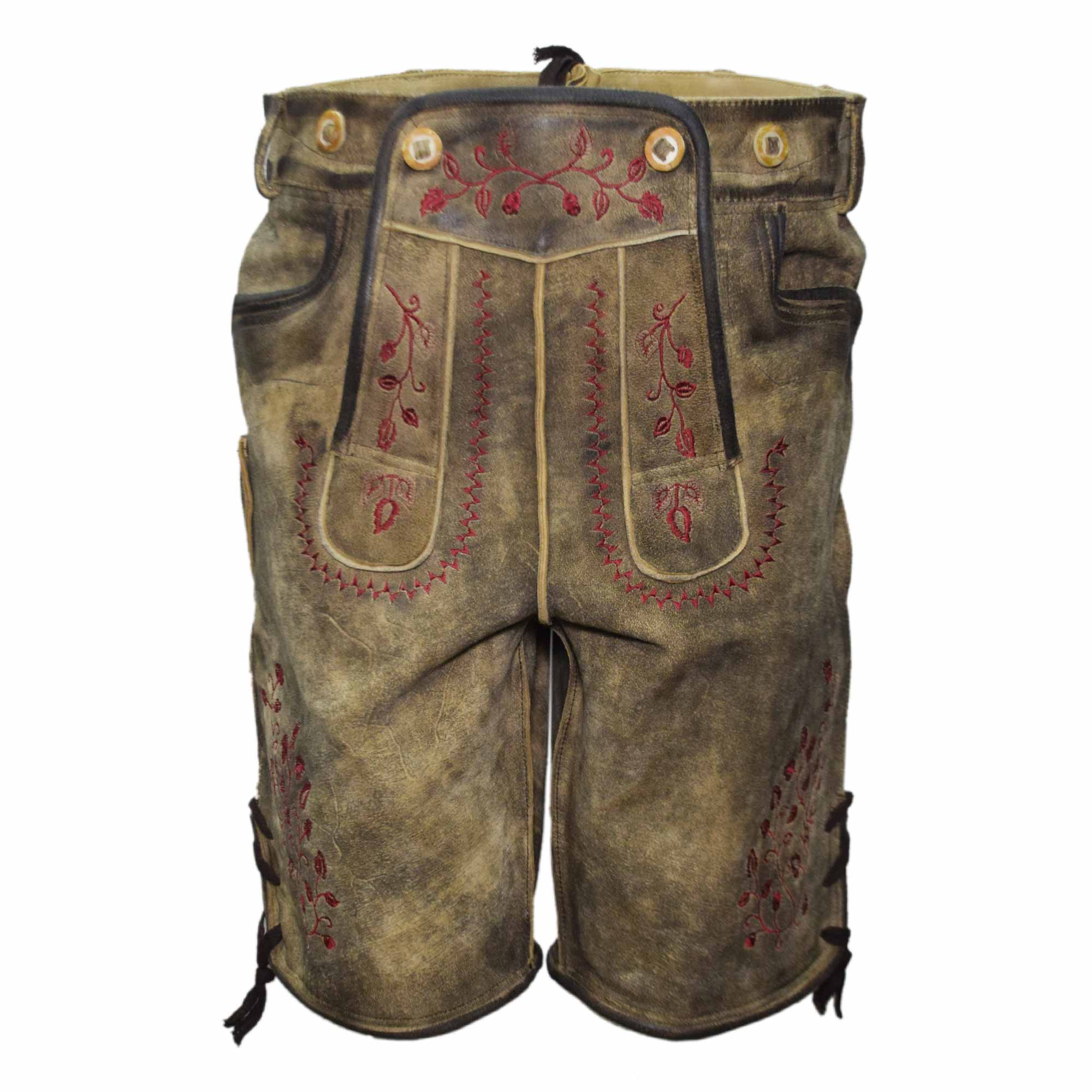 BROWN MEN SHORT LEDERHOSEN WITH RED ART WORK