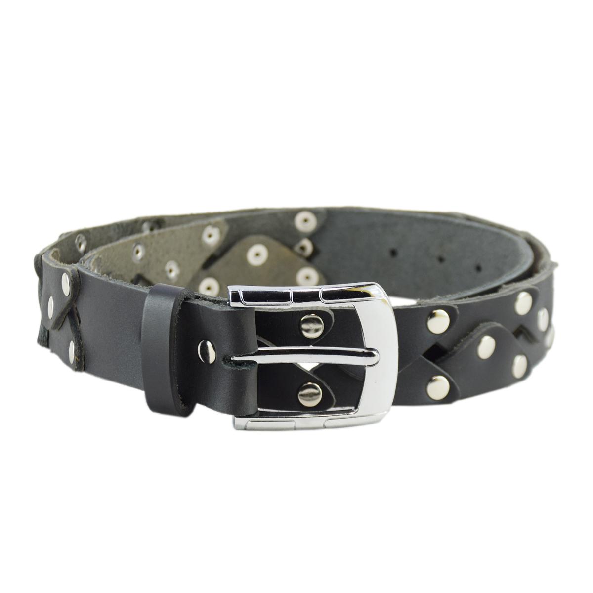 """Black Fancy Handmade Jeans Leather Belt 1.5"""""""