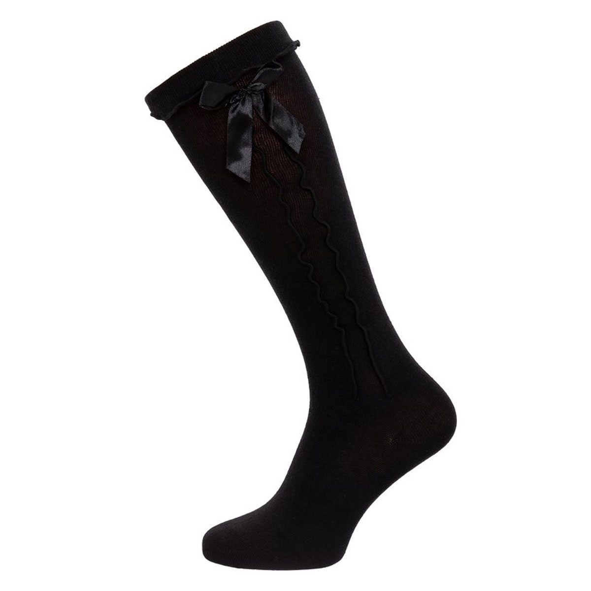 BLACK FEMALE SOCKS WITH RIBBON