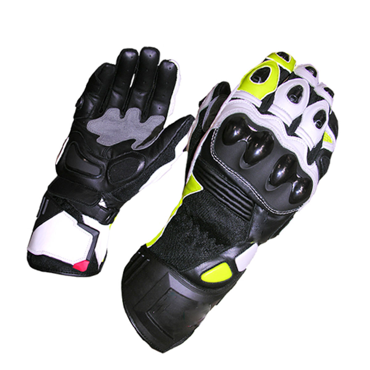 BLACK MOTORBIKE GLOVES WITH YELLOW & WHITE DESIGN