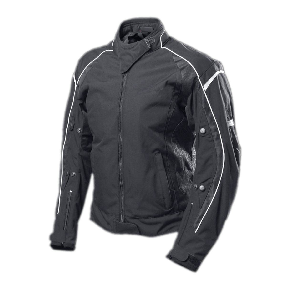 BLACK FEMALE CORDURA JACKET WITH WHITE LINES