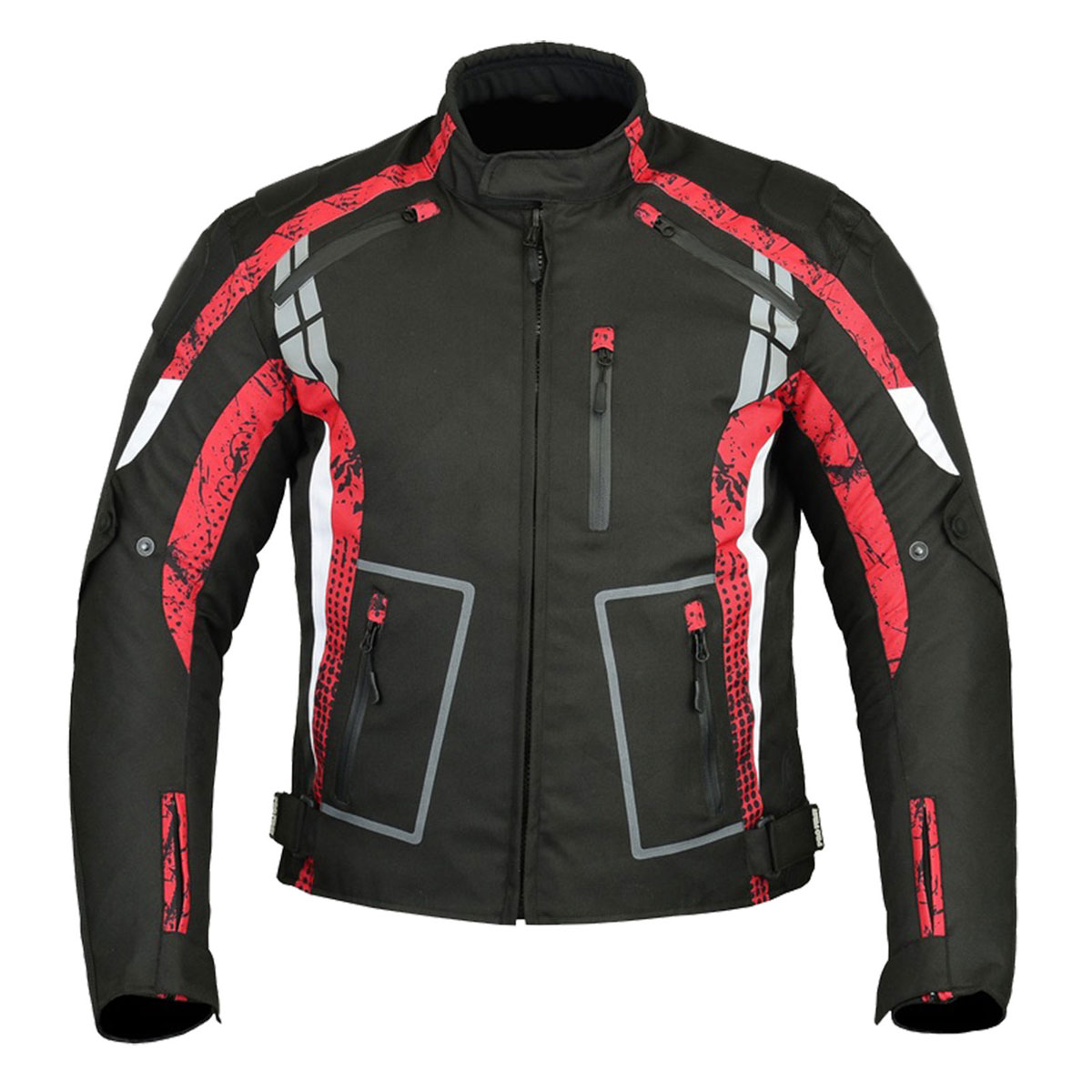 BLACK MEN CORDURA JACKET WITH UNIQUE RED DESIGN