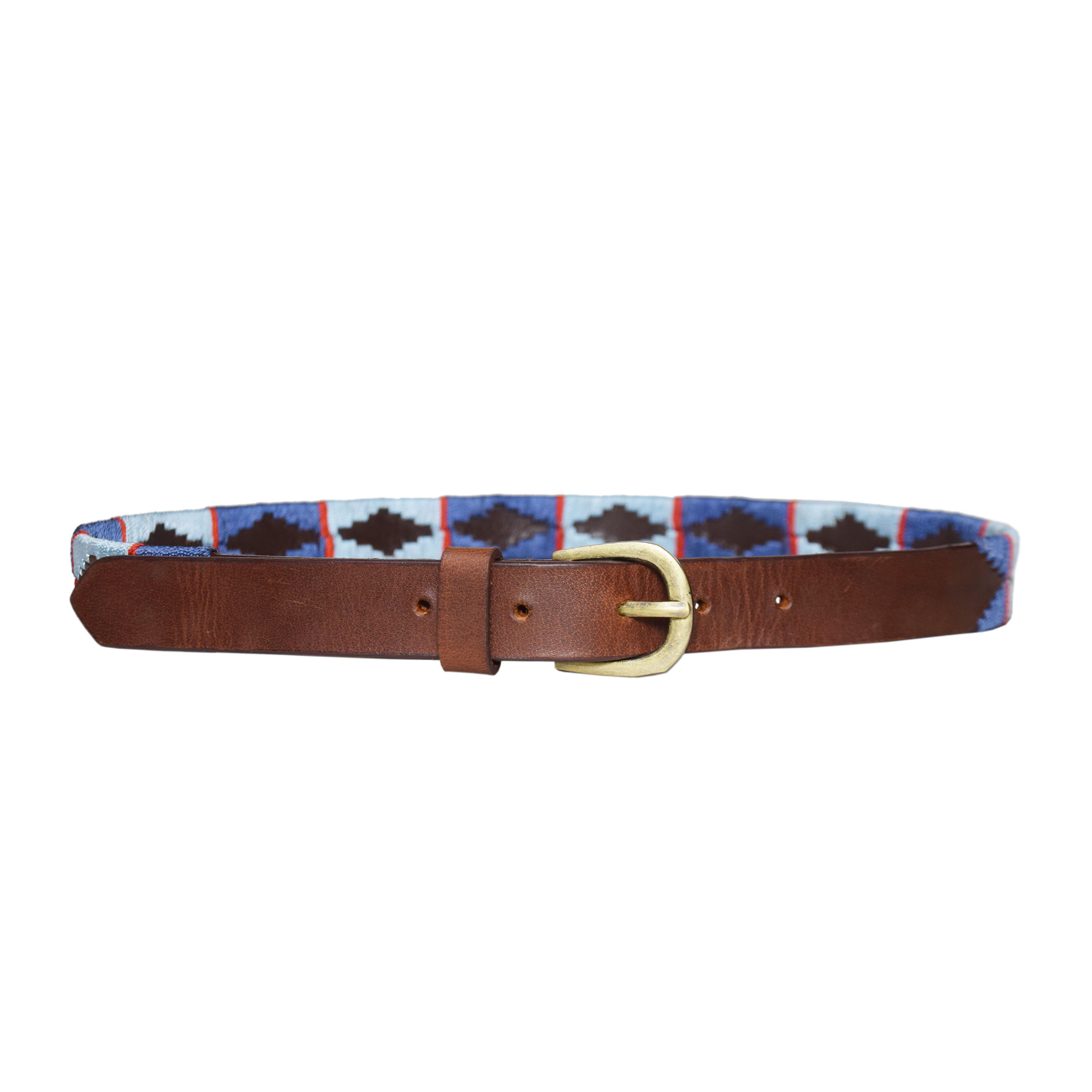 BROWN POLO BELT WITH MULTICOLOR DESIGN 1 INCH