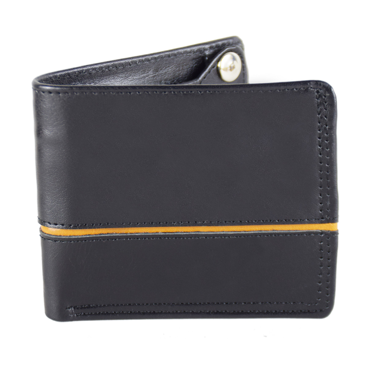 BLACK WALLET WITH YELLOW LINE