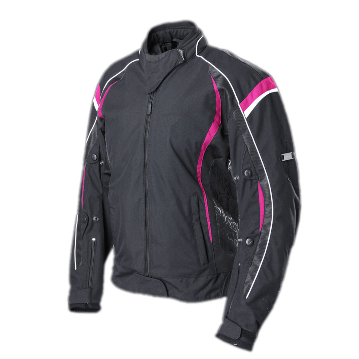 BLACK FEMALE JACKET WITH PINK LINES