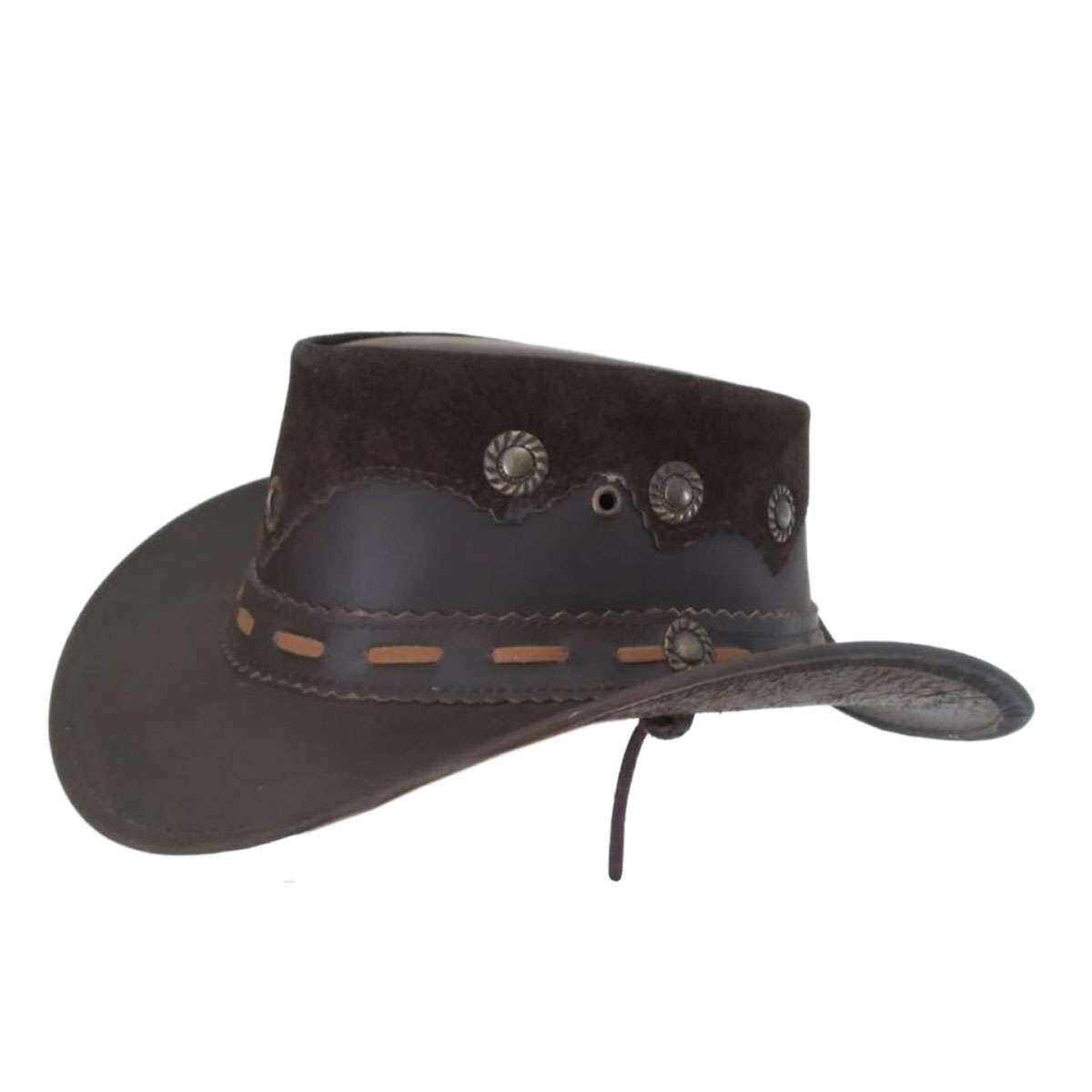BROWN TRADITIONAL LEATHER HAT