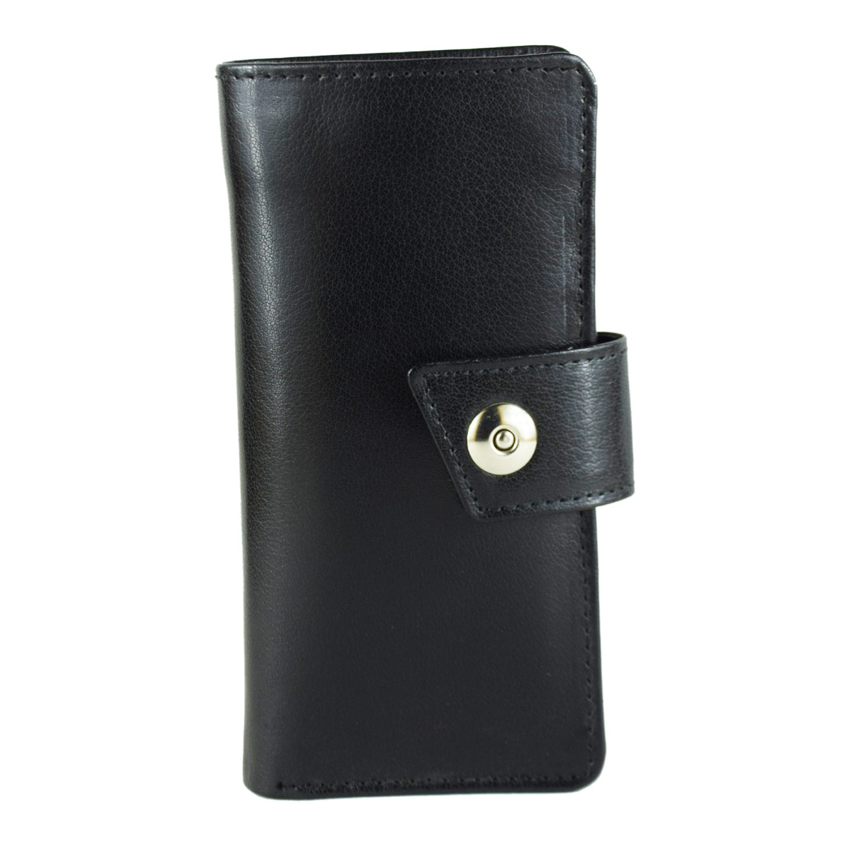 BLACK LONG WALLET WITH MAGNETIC BUTTON