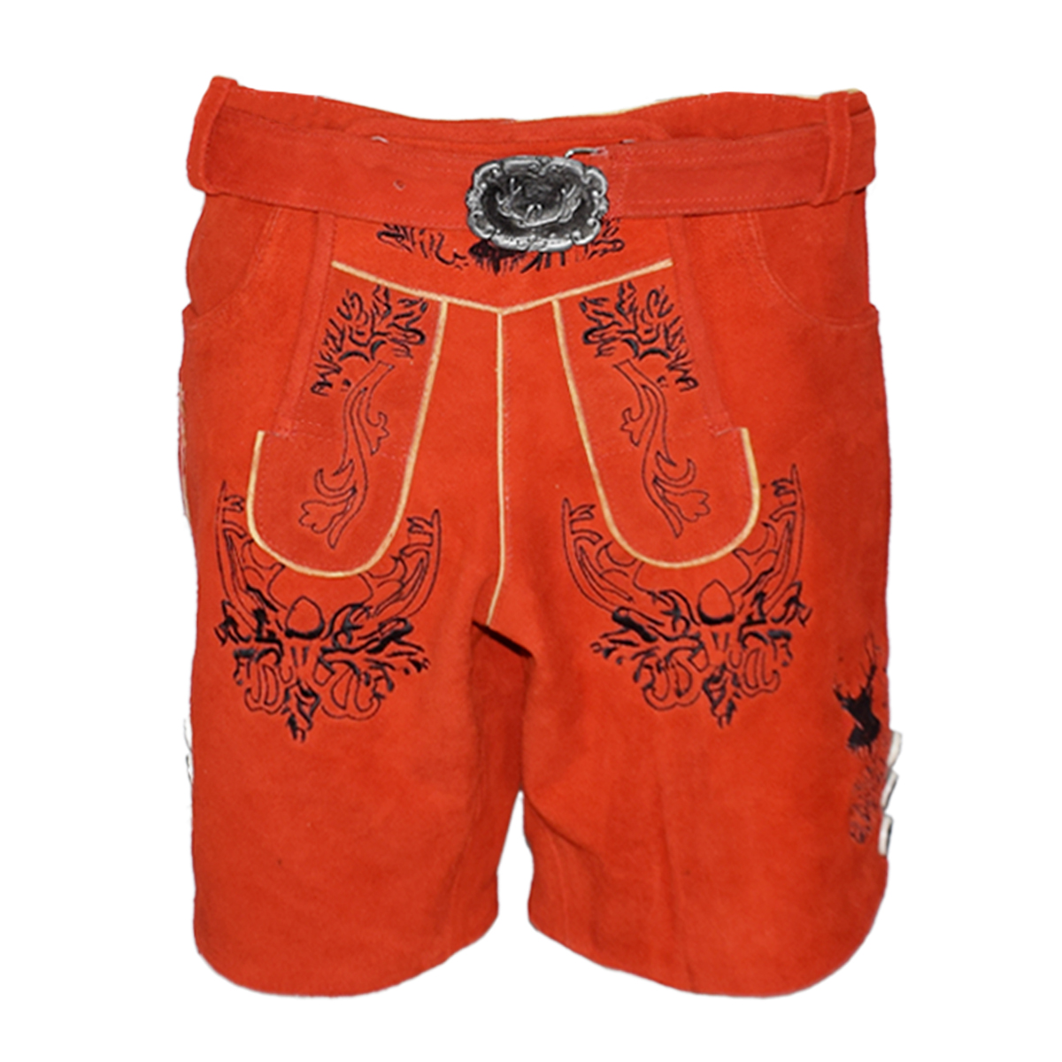 RED MEN SHORT LEDERHOSEN WITH BLACK ART WORK