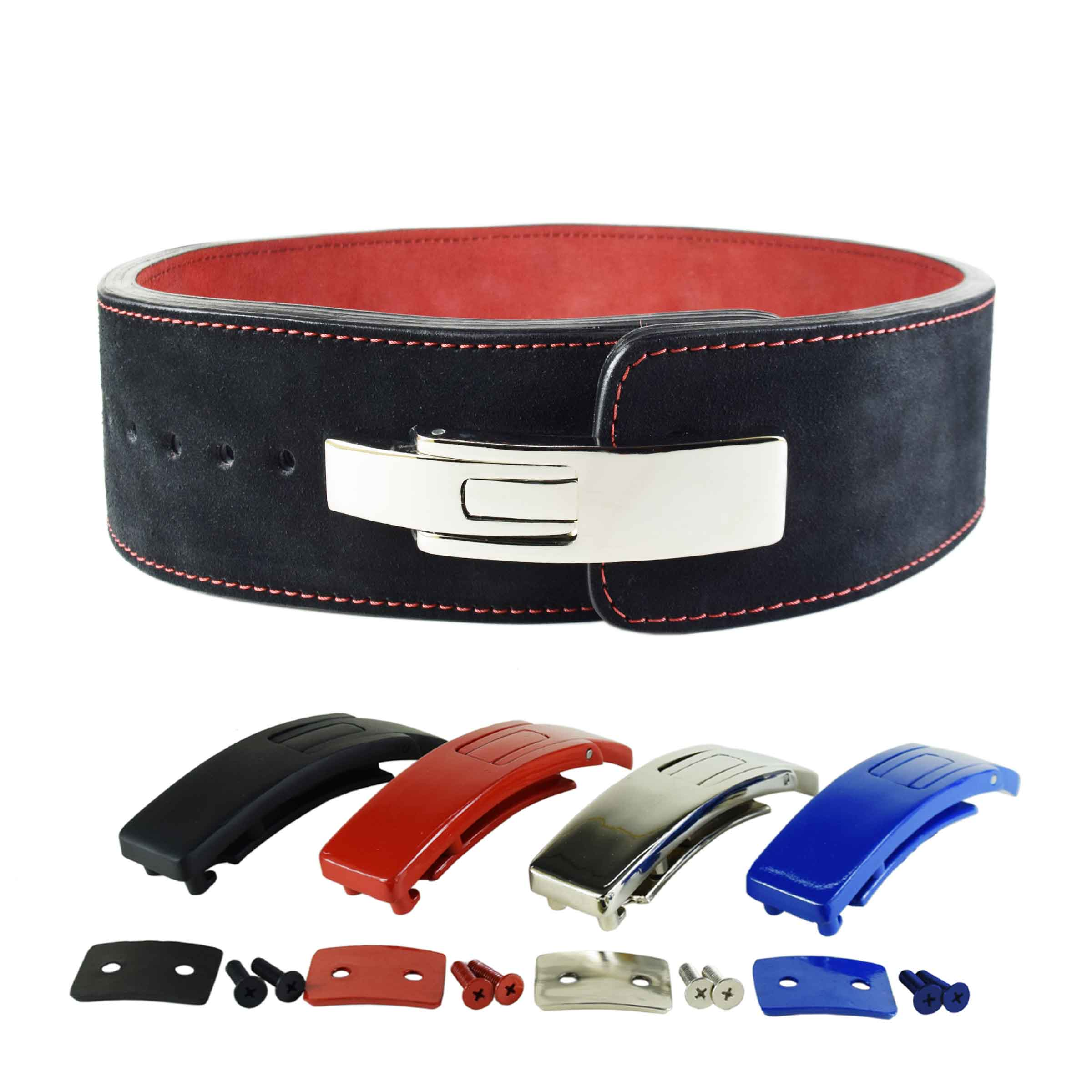 BLACK LEVER BELT FROM RED INSIDE