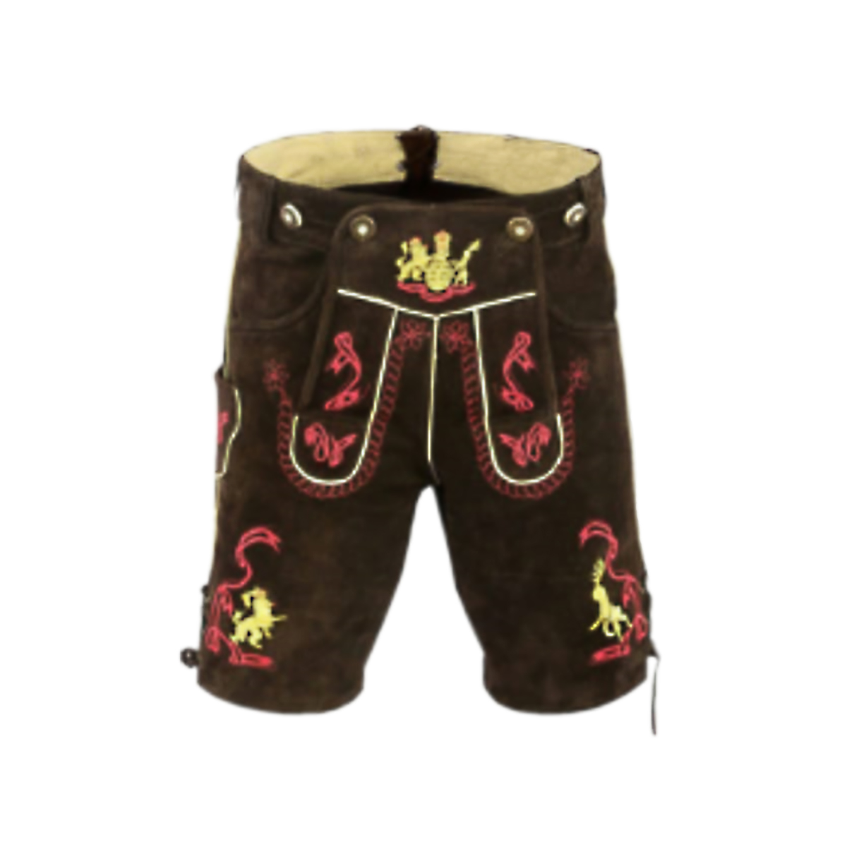 DARK BROWN MEN SHORT LEDERHOSEN WITH RED ART WORK