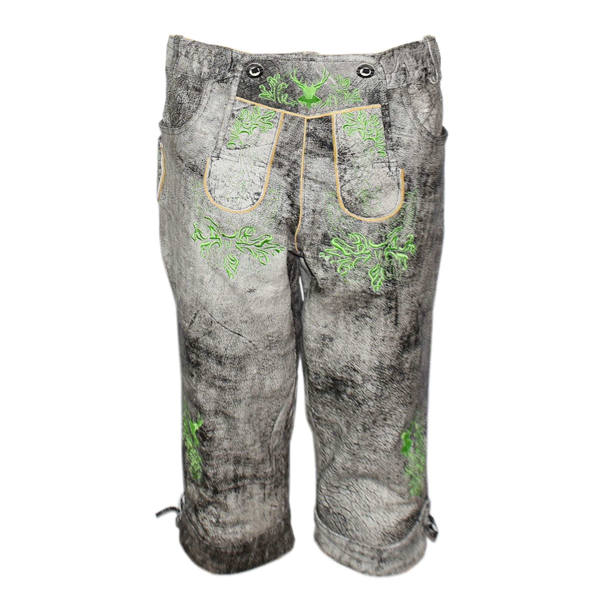 SHINY GREY MEN LONG LEDERHOSEN WITH GREEN ART WORK