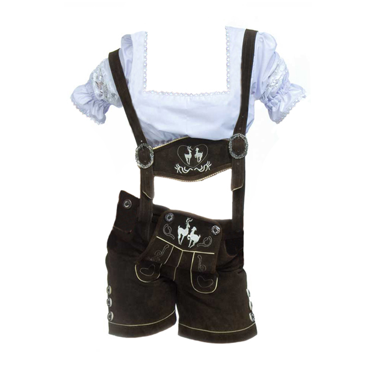 LADIES DARK BROWN SHORT LEDERHOSEN