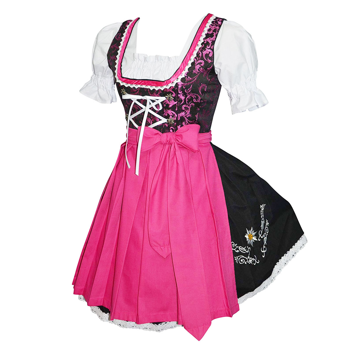 BLACK DIRNDL WITH FLOWERS EMBROIDERY