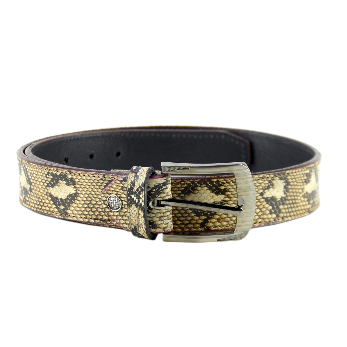 Snake Skin Printed Casual Leather Belt 1.5""