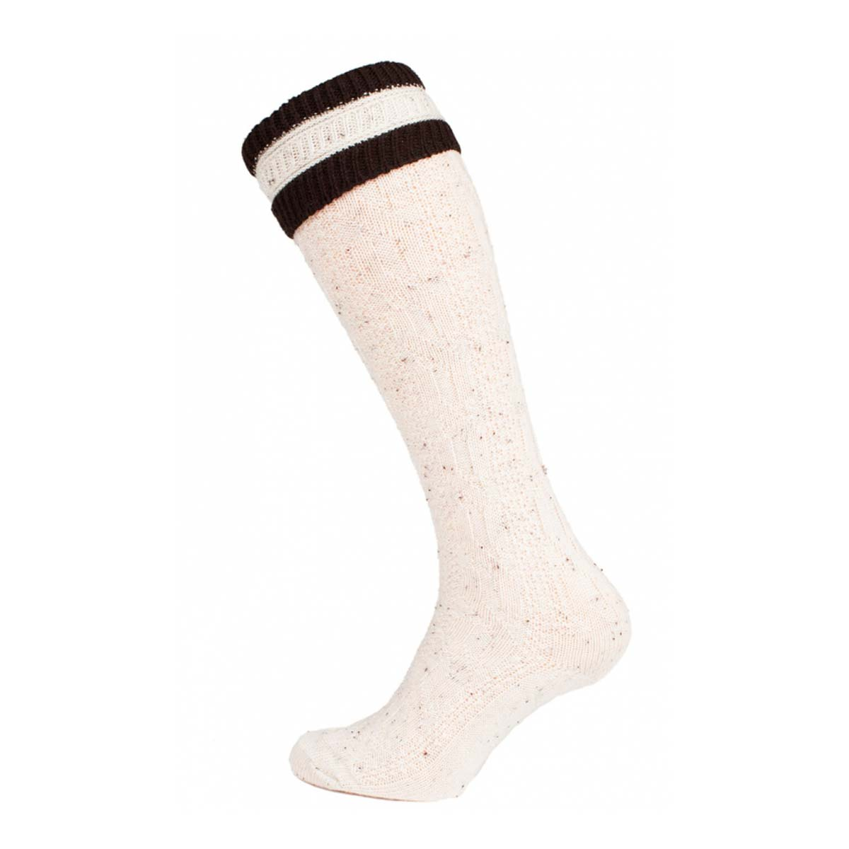 HALF WHITE SOCKS WITH DARK BROWN LINES