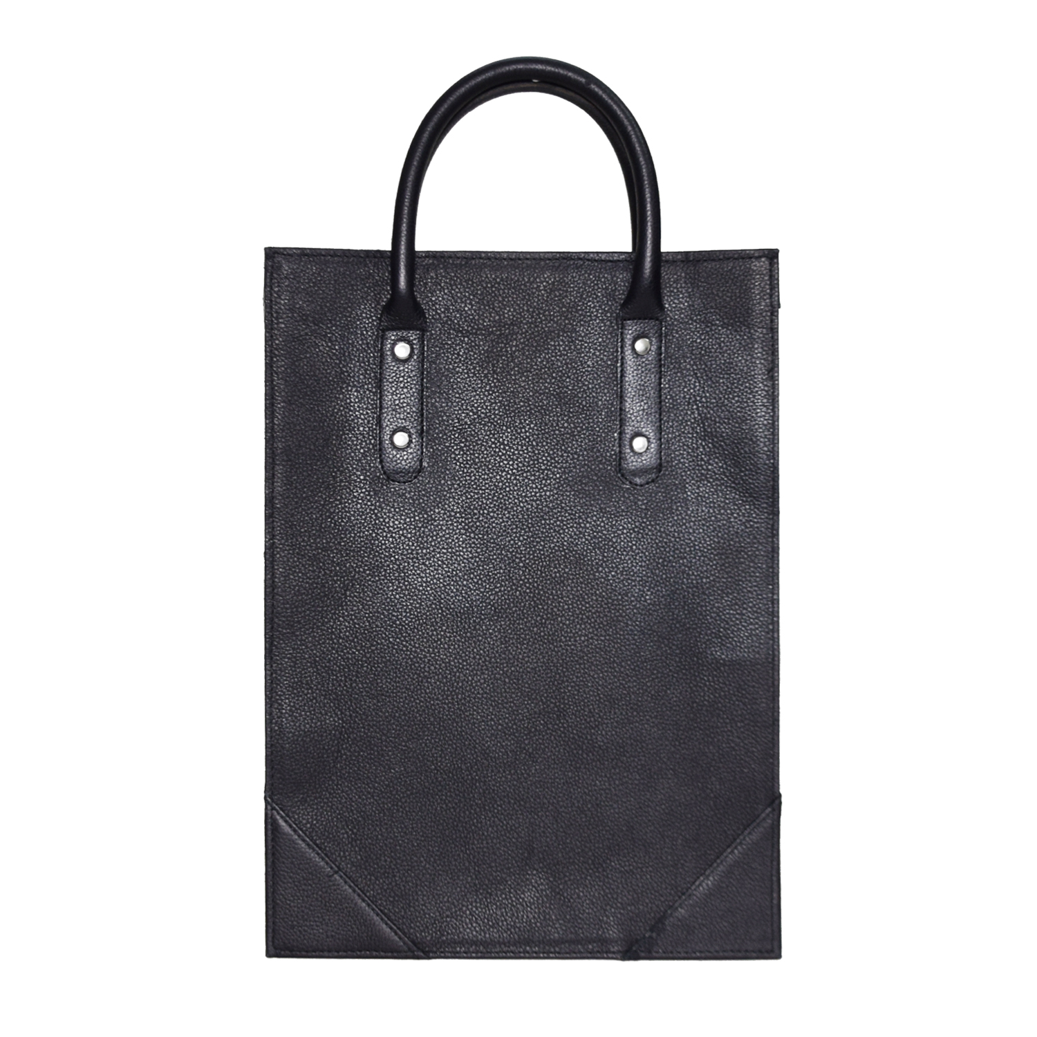 BLACK LEATHER TOTE BAG WITH SHOULDER BELT IN BUFFALO LEATHER