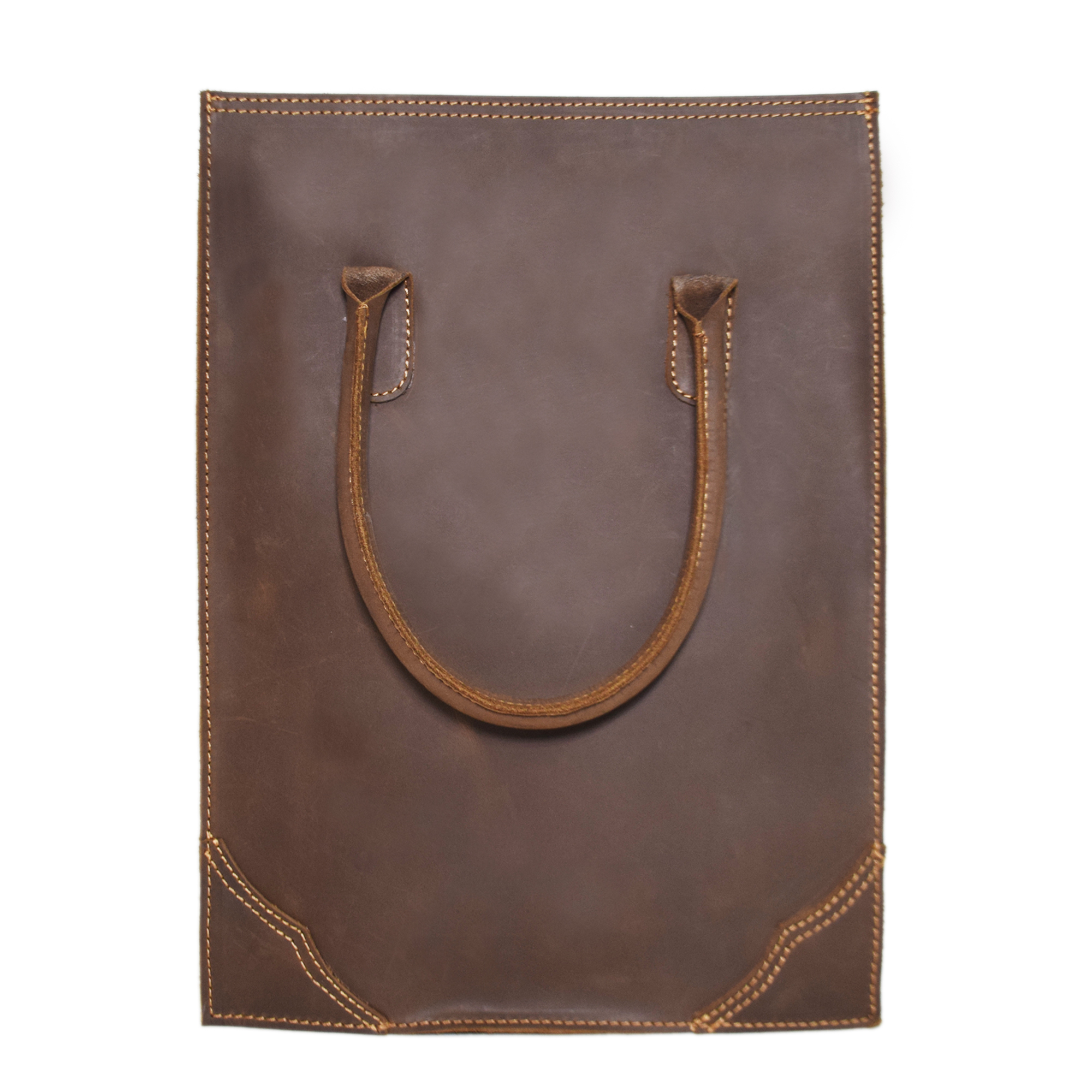 SIMPLE BROWN LEATHER TOTE BAG WITH SHOULDER BELT