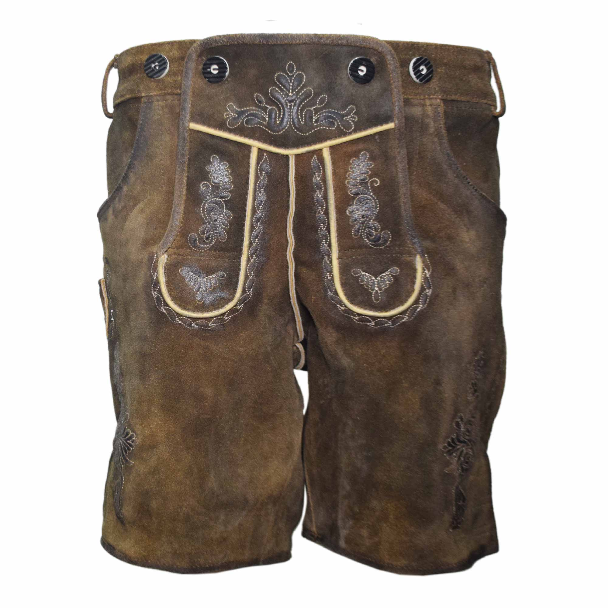 DARK BROWN MEN SHORT LEDERHOSEN WITH SKIN ART WORK AND WAX ON IT