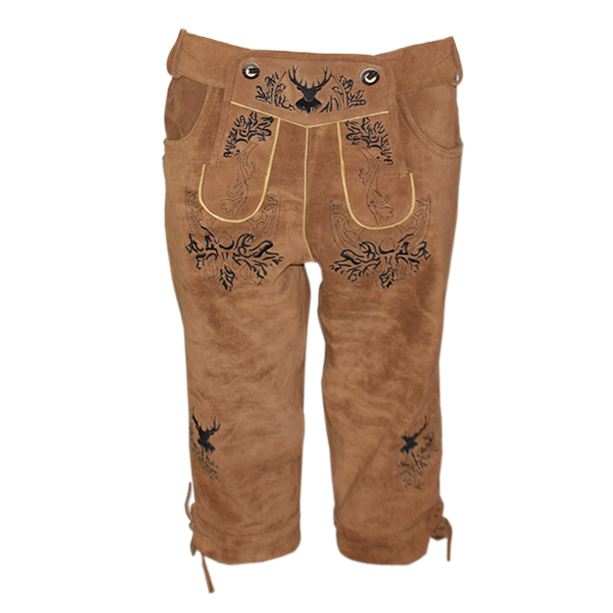 DARK BROWN MEN LONG LEDERHOSEN WITH BLACK ART WORK