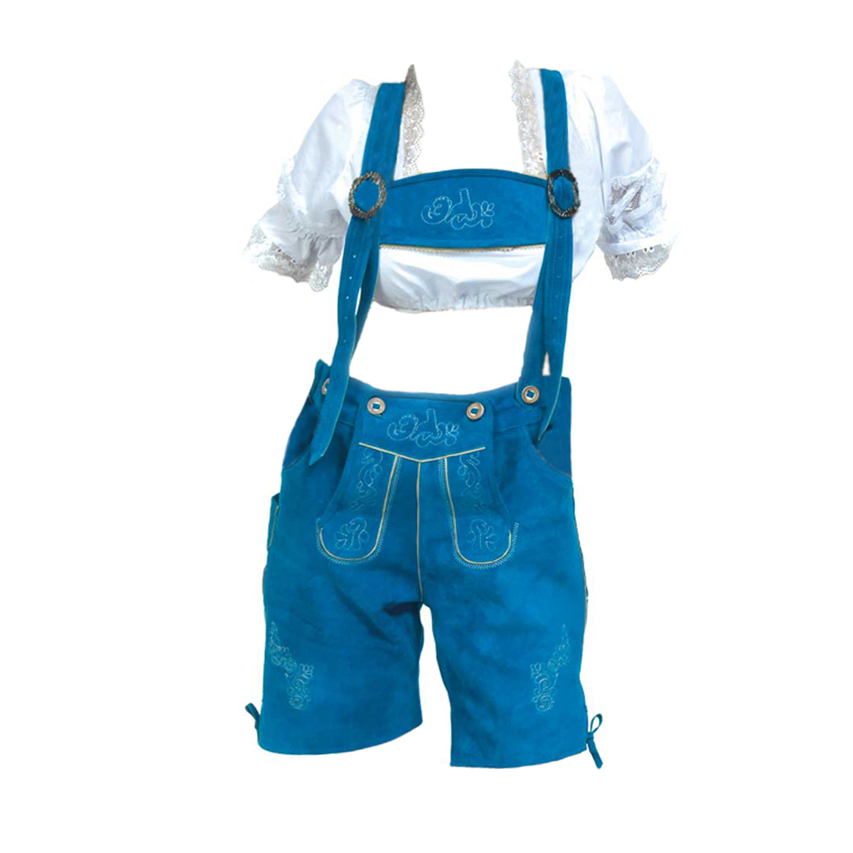 LADIES BLUE SHORT LEDERHOSEN