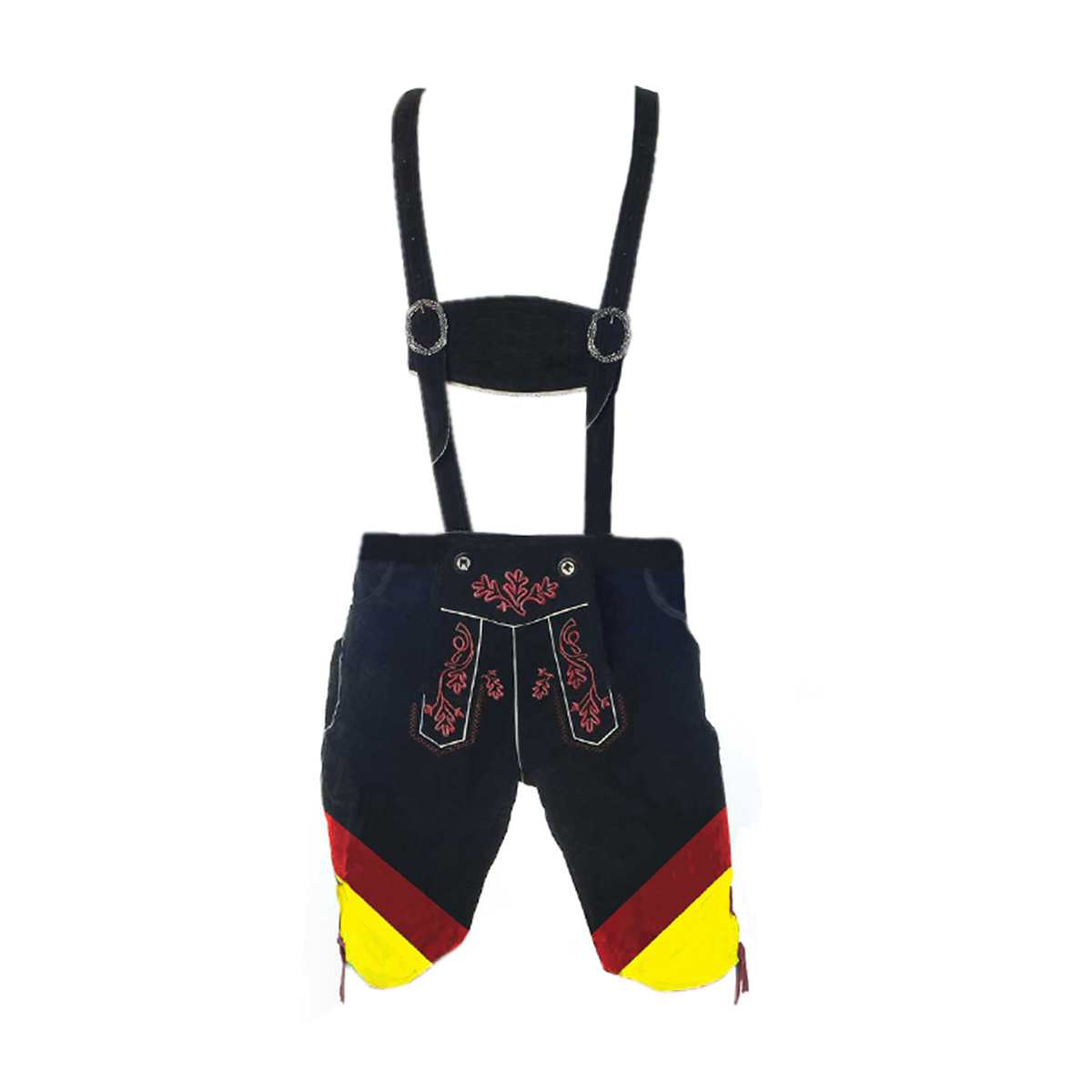 DARK BLUE MEN SHORT LEDERHOSEN WITH YELLOW BOTTOM