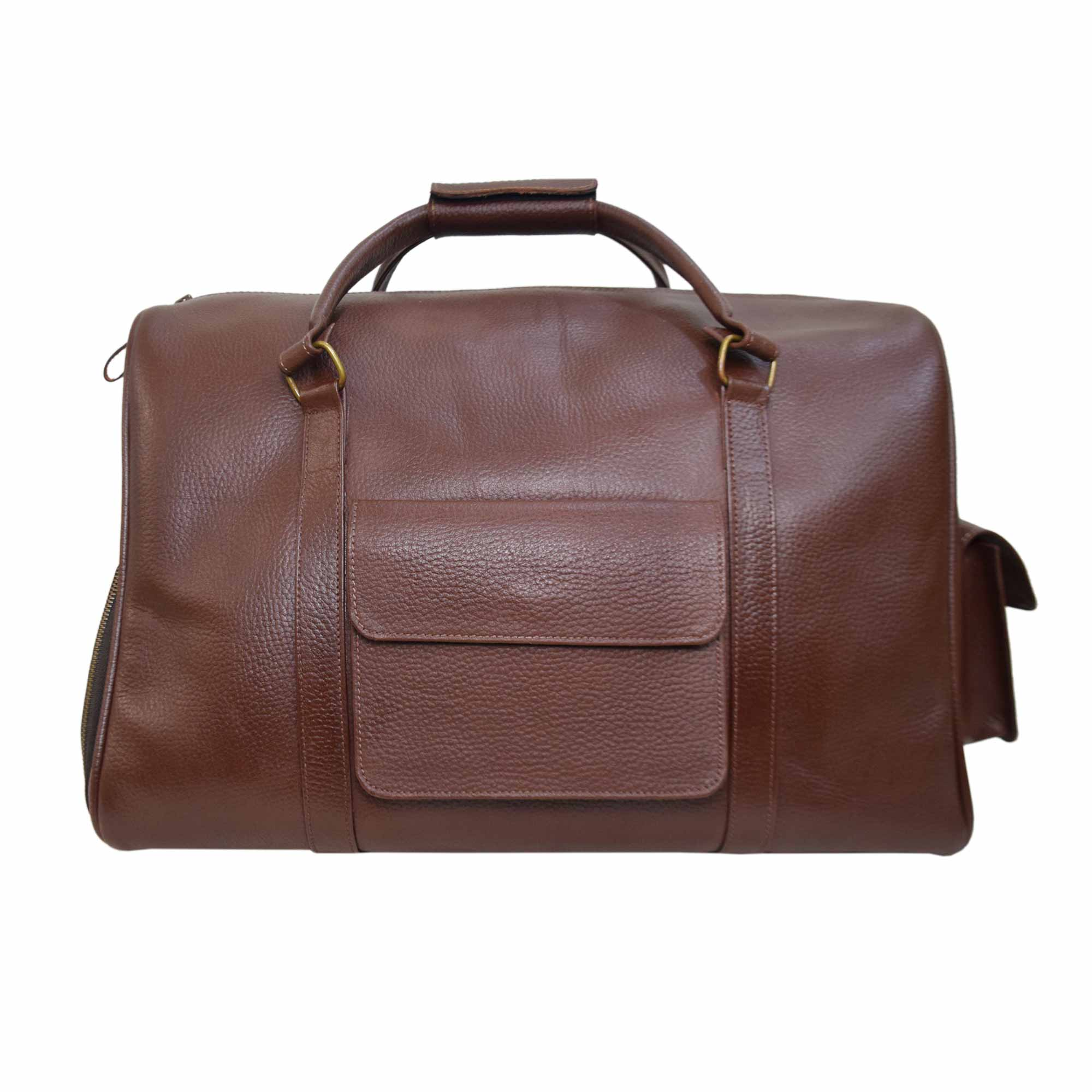 BROWN WEEKEND BAG WITH LEATHER GRAIN