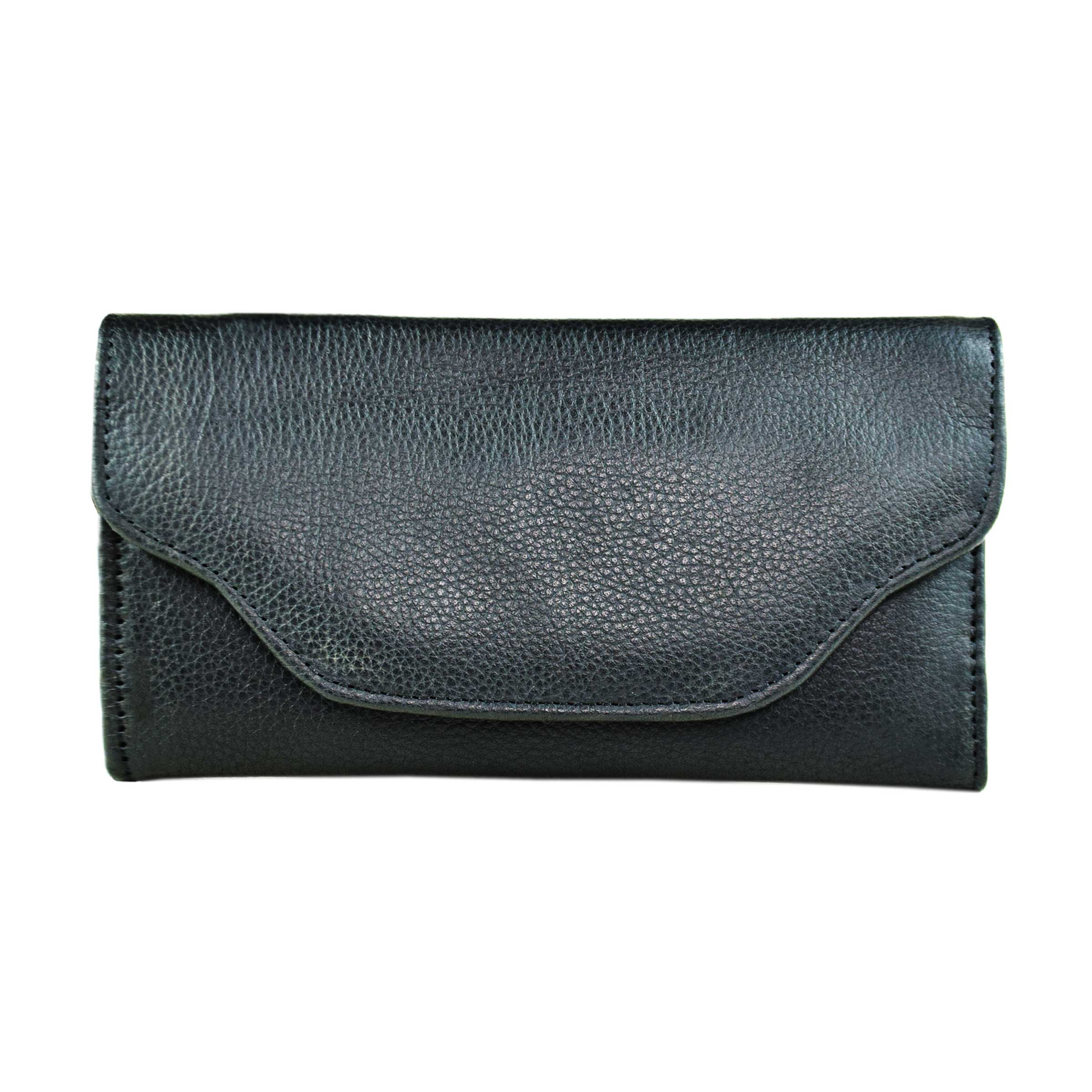 BLACK LADIES CLUTCH WTIH LEATHER GRAINS