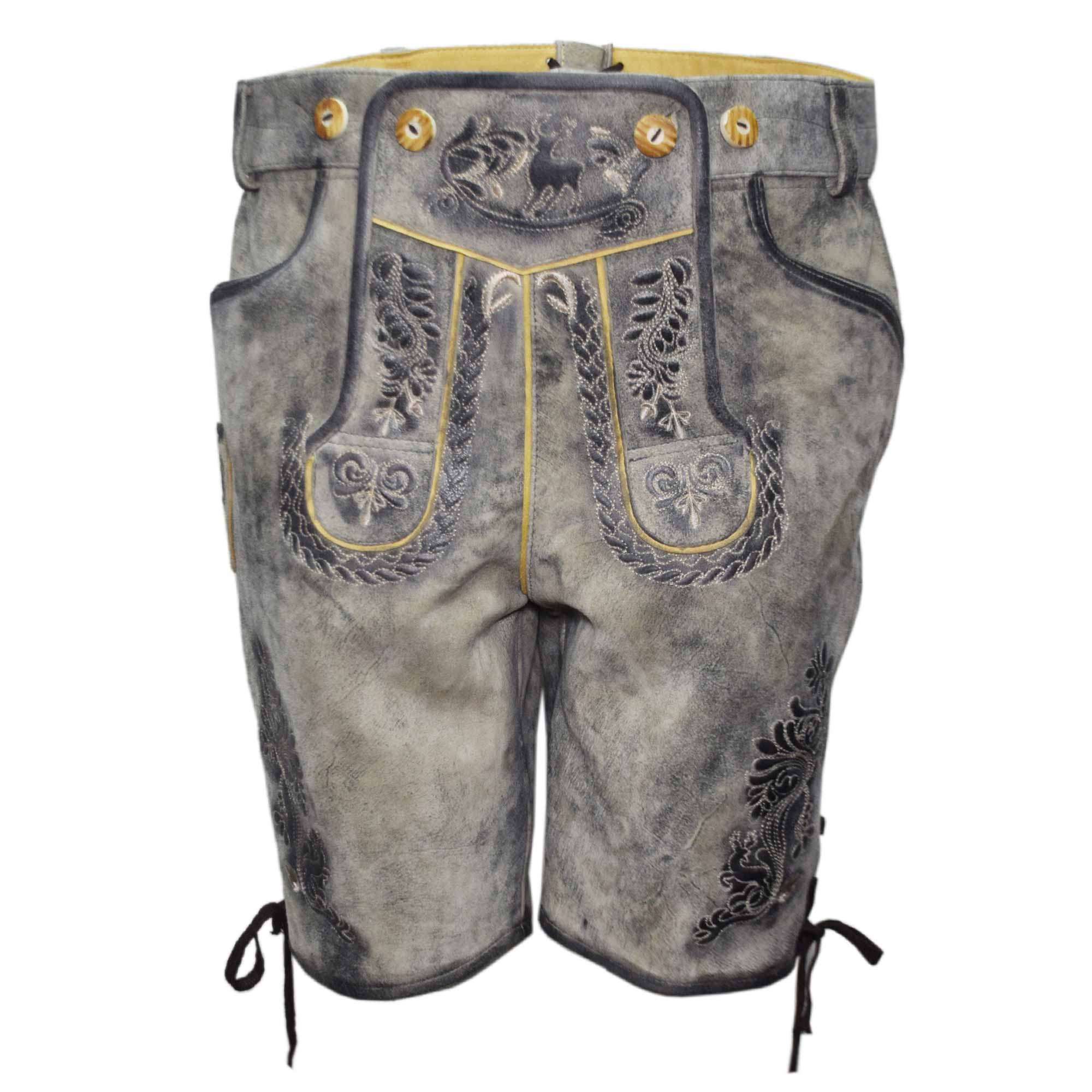 GREY MEN SHORT LEDERHOSEN WITH BLACK ART WORK