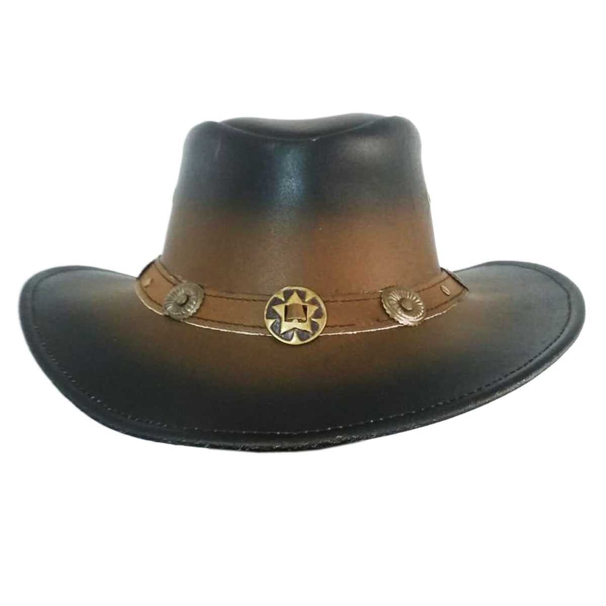 BROWN & BLACK LEATHER HAT
