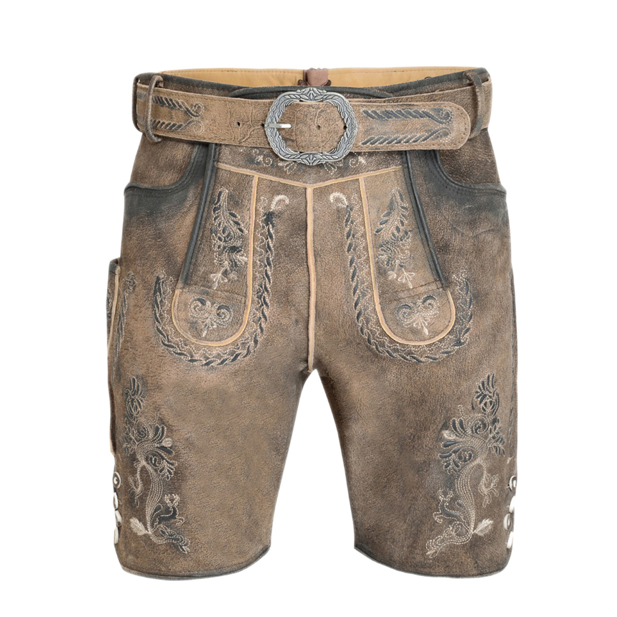 LIGHT BROWN WITH DARK THEME MEN SHORT LEDERHOSEN