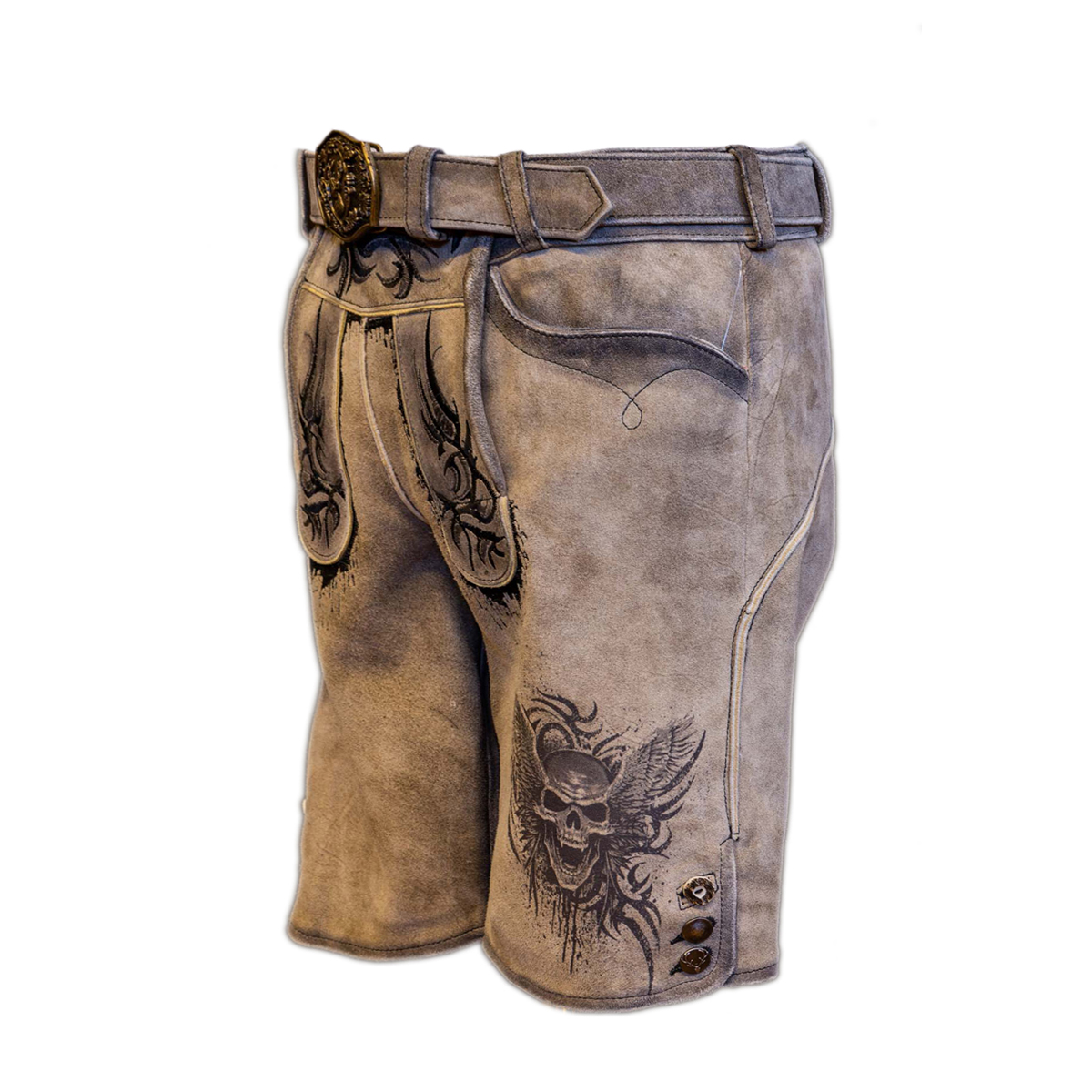 LIGHT BROWN MEN SHORT LEDERHOSEN WITH SKULL ART WORK