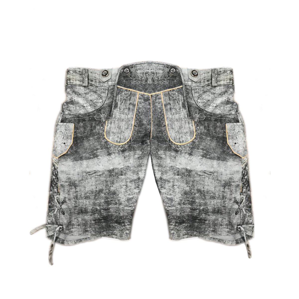 GREY MEN SHORT LEDERHOSEN WITH WHITE ART WORK
