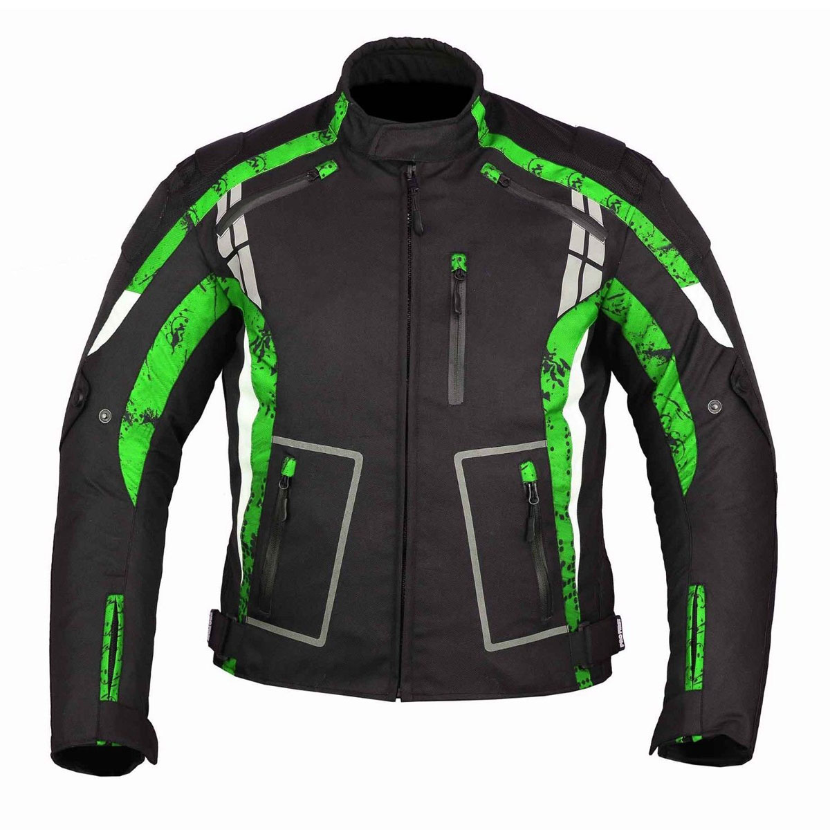BLACK MEN CORDURA JACKET WITH GREEN DESIGN