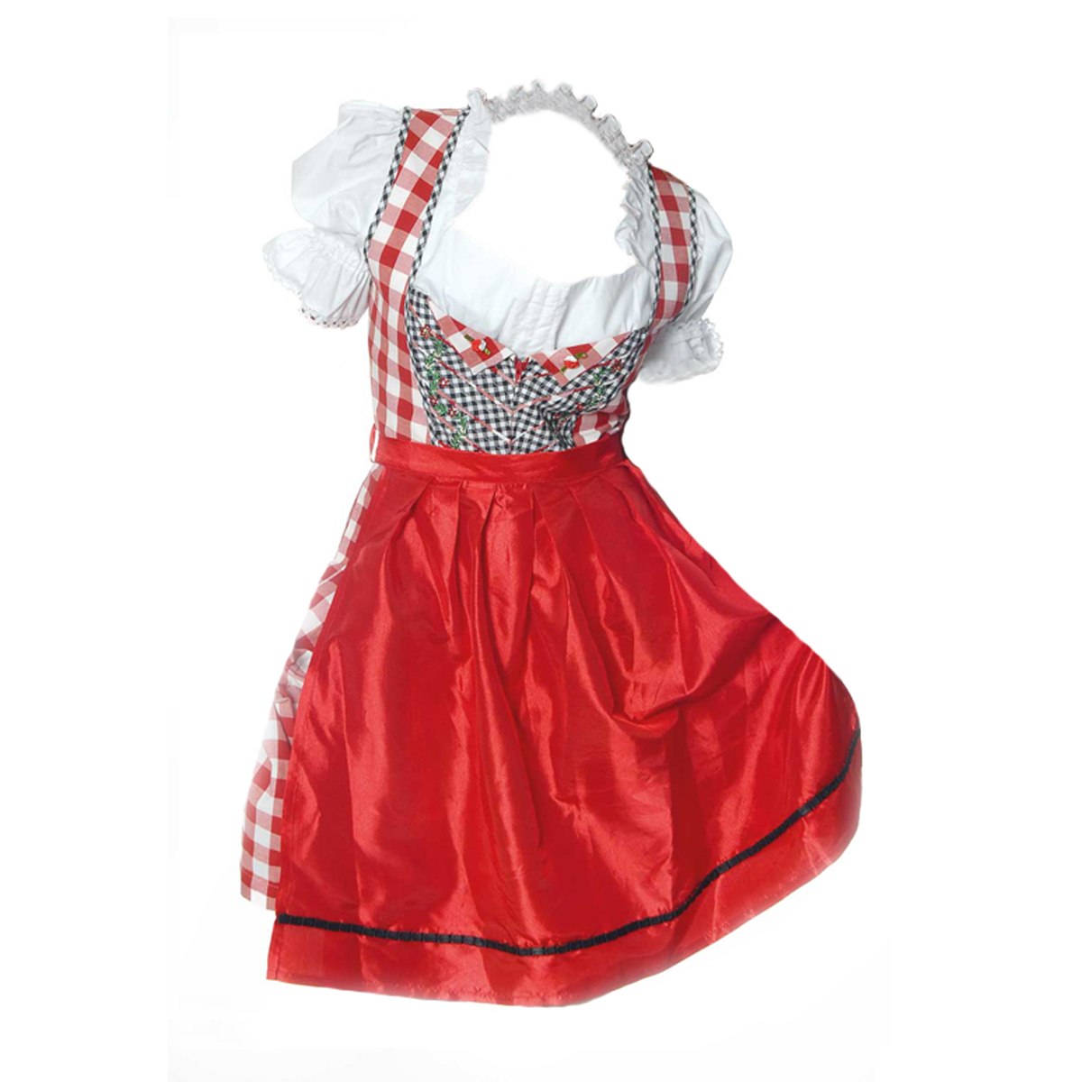 RED / WHITE LONG DIRNDL WITH NET BLOUSE