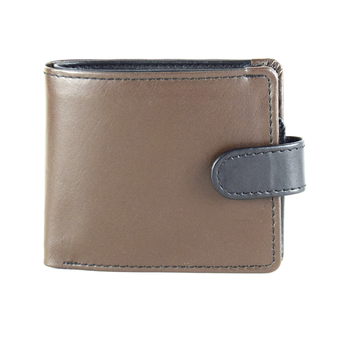 BROWN WALLET WITH TICH BUTTON STRAP