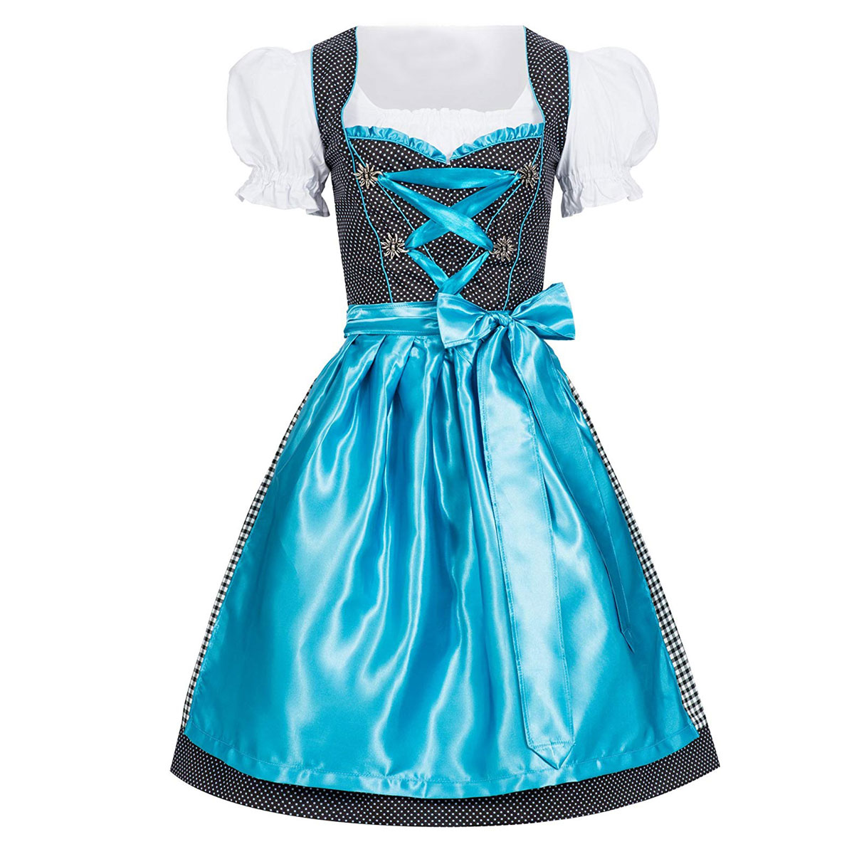 BLACK / WHITE WITH BLUE DIRNDL