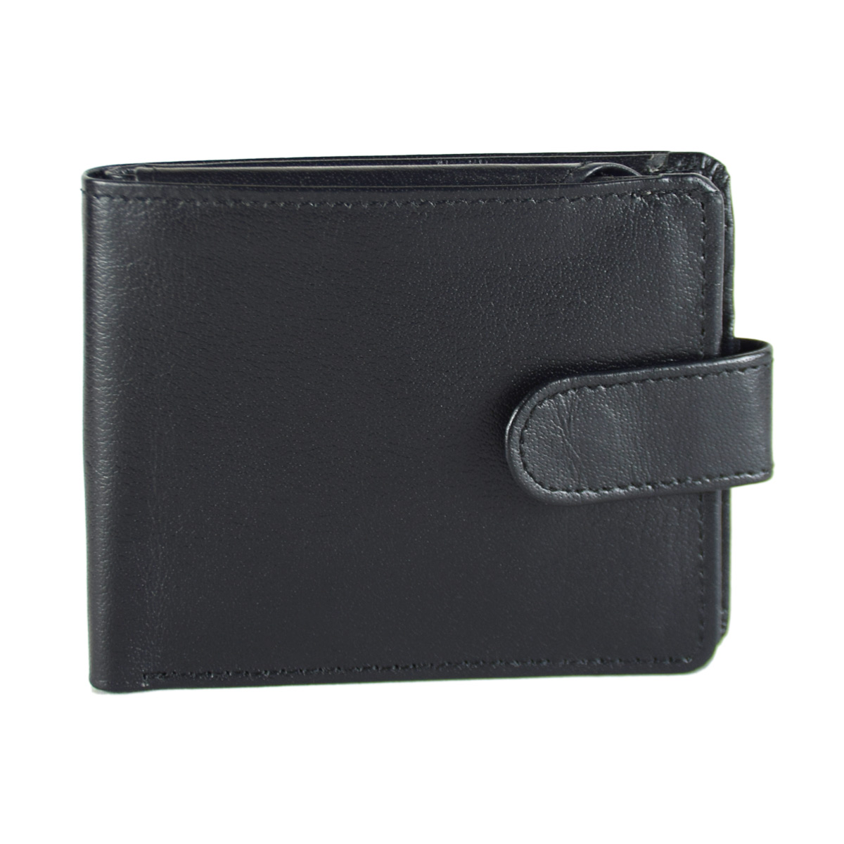 BLACK WALLET WITH TICH BUTTON