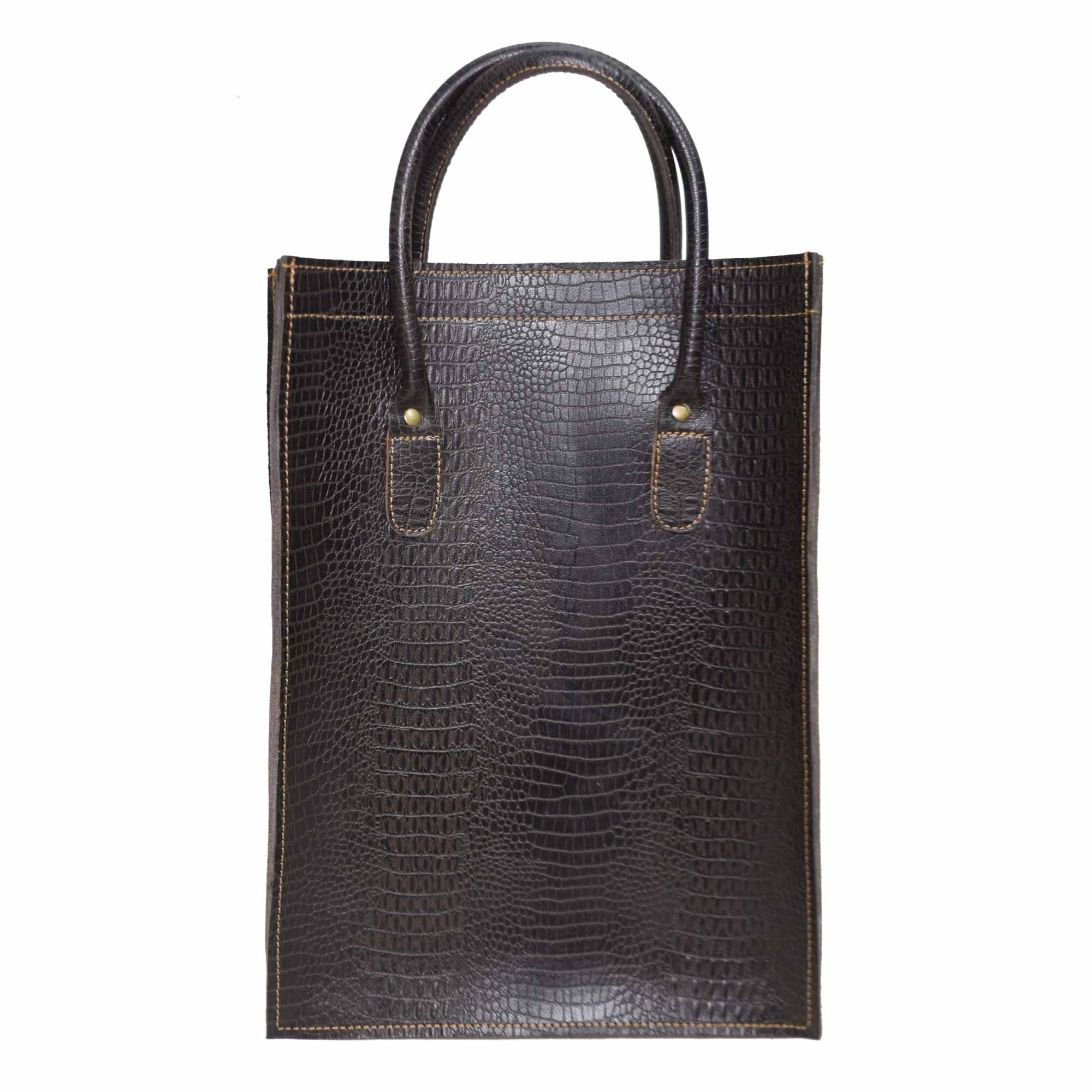 ARK BROWN LEATHER TOTE BAG WITH SHOULDER BELT IN CROCODILE STYLE LEATHER