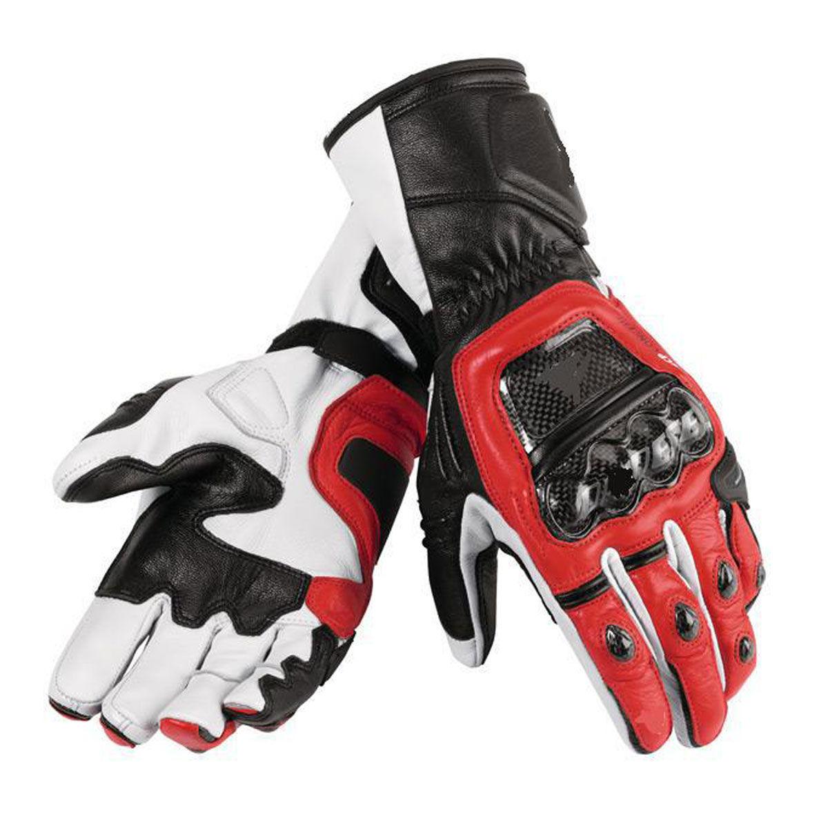 BLACK MOTORBIKE GLOVES WITH RED & WHITE DESIGN
