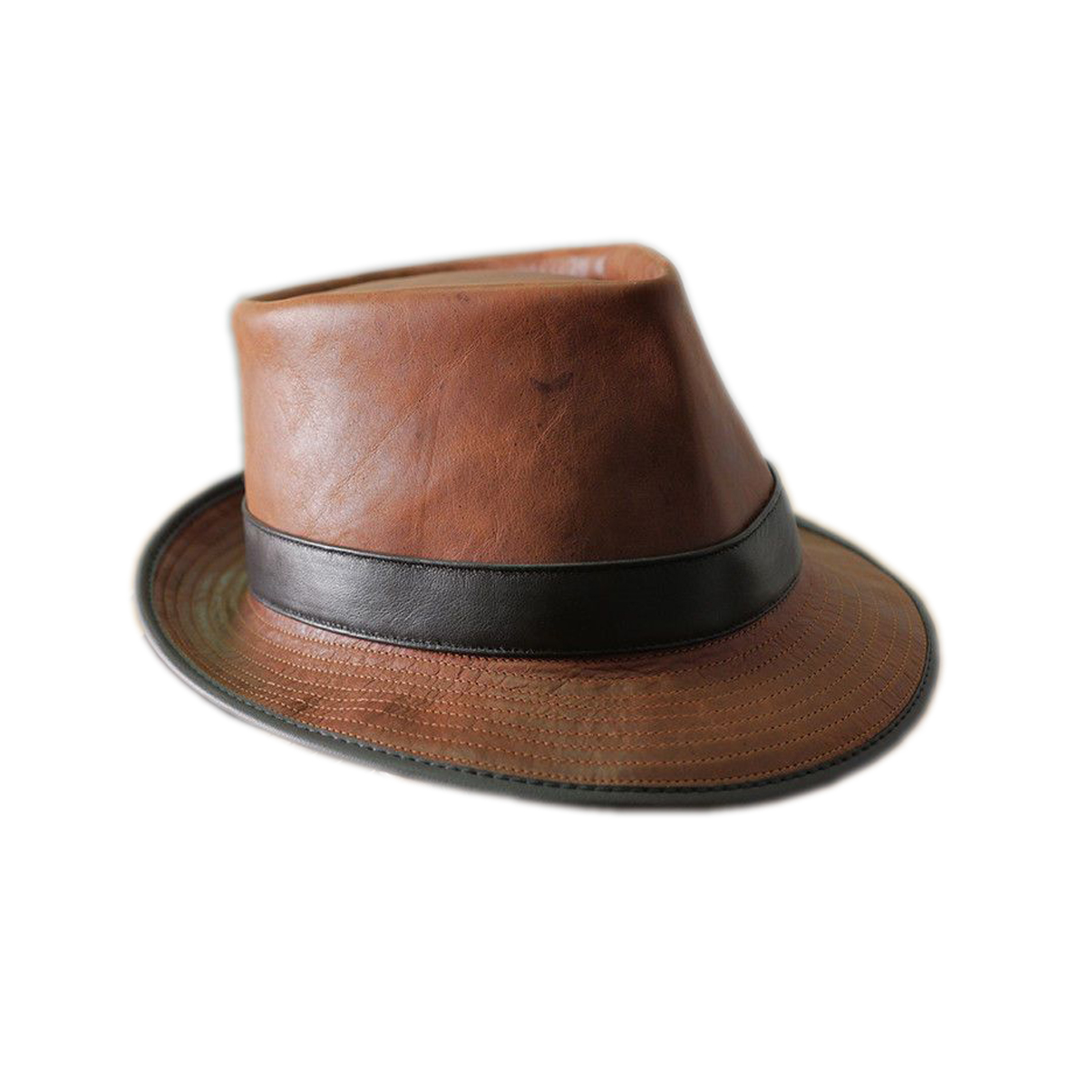 BROWN LEATHER HAT WITH BLACK STRAP