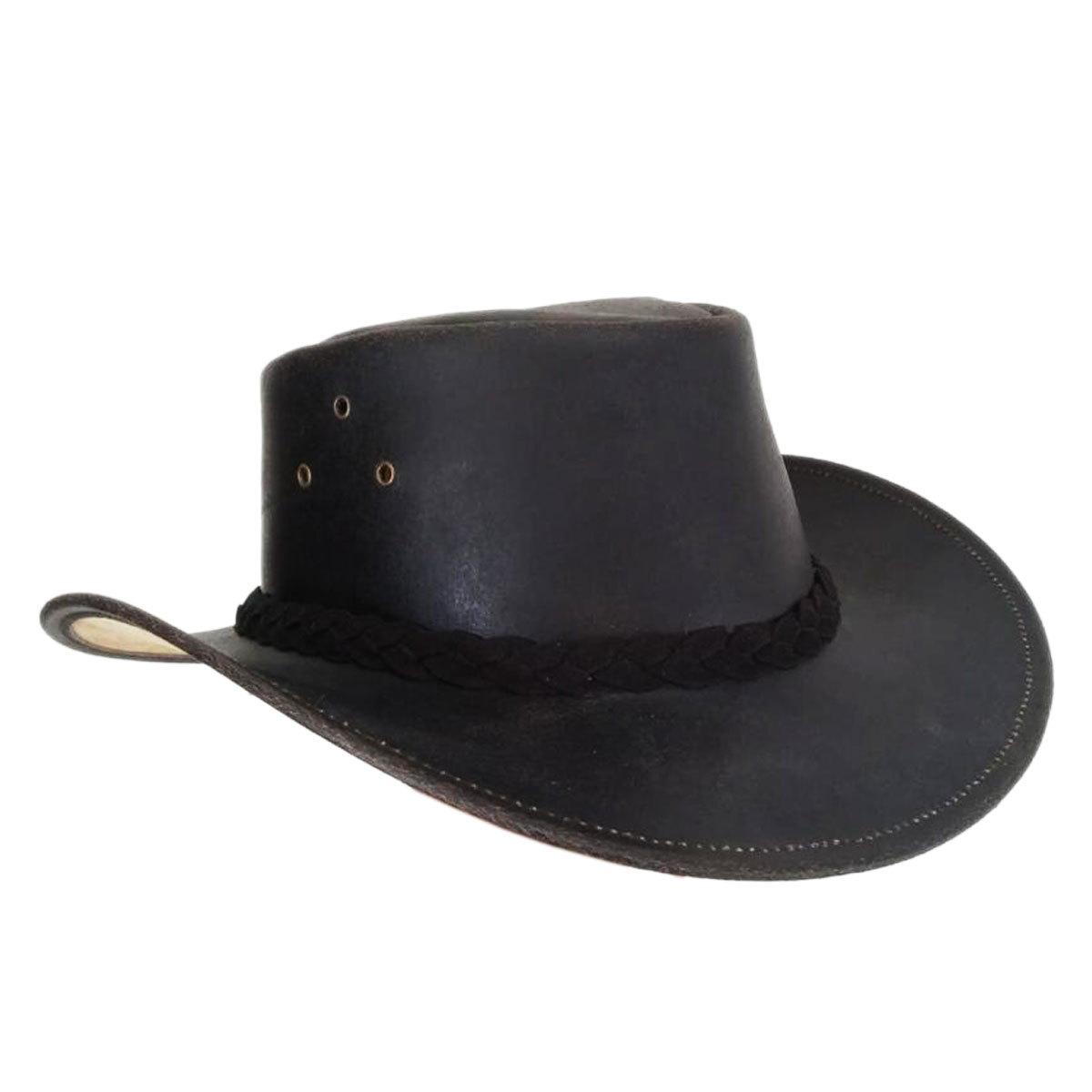 DULL BLACK LEATHER HAT