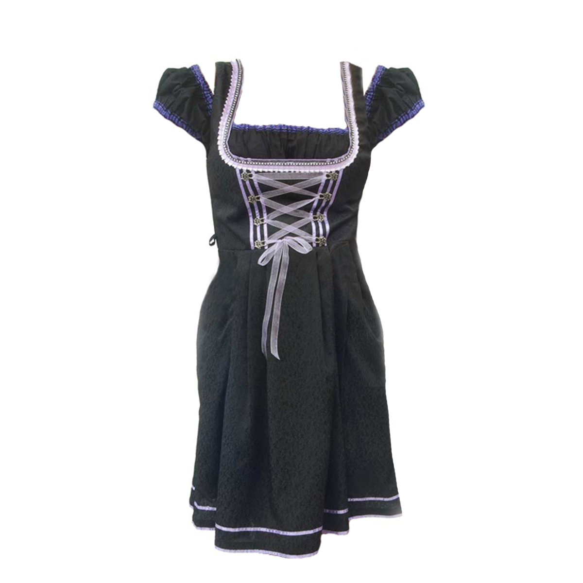 BLACK DIRNDL WITH PURPLE LACES