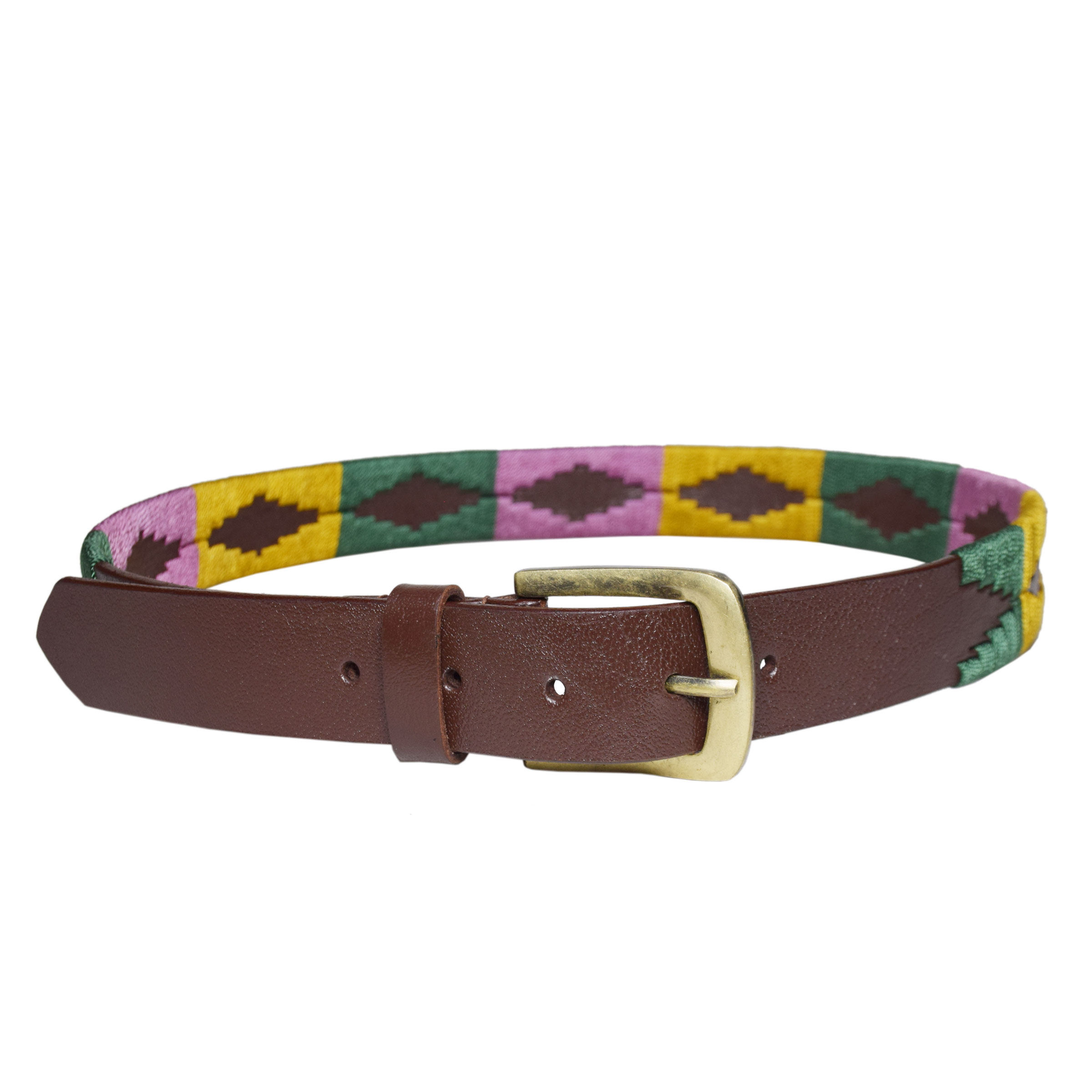 BROWN POLO BELT WITH MULTICOLOR DESIGN 1.5 INCH