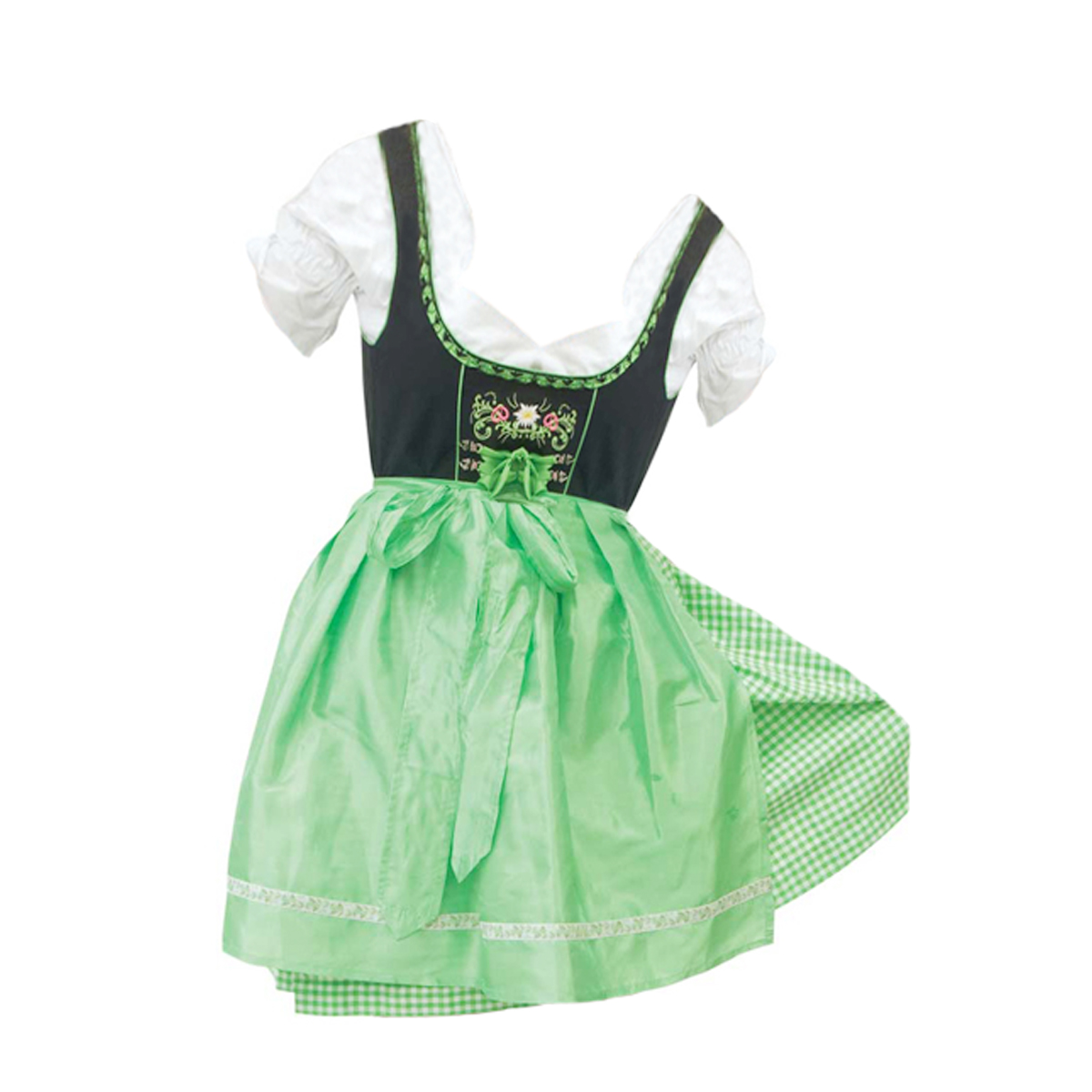 BLACK / GREEN CHECKERED DIRNDL WITH FLOWERS