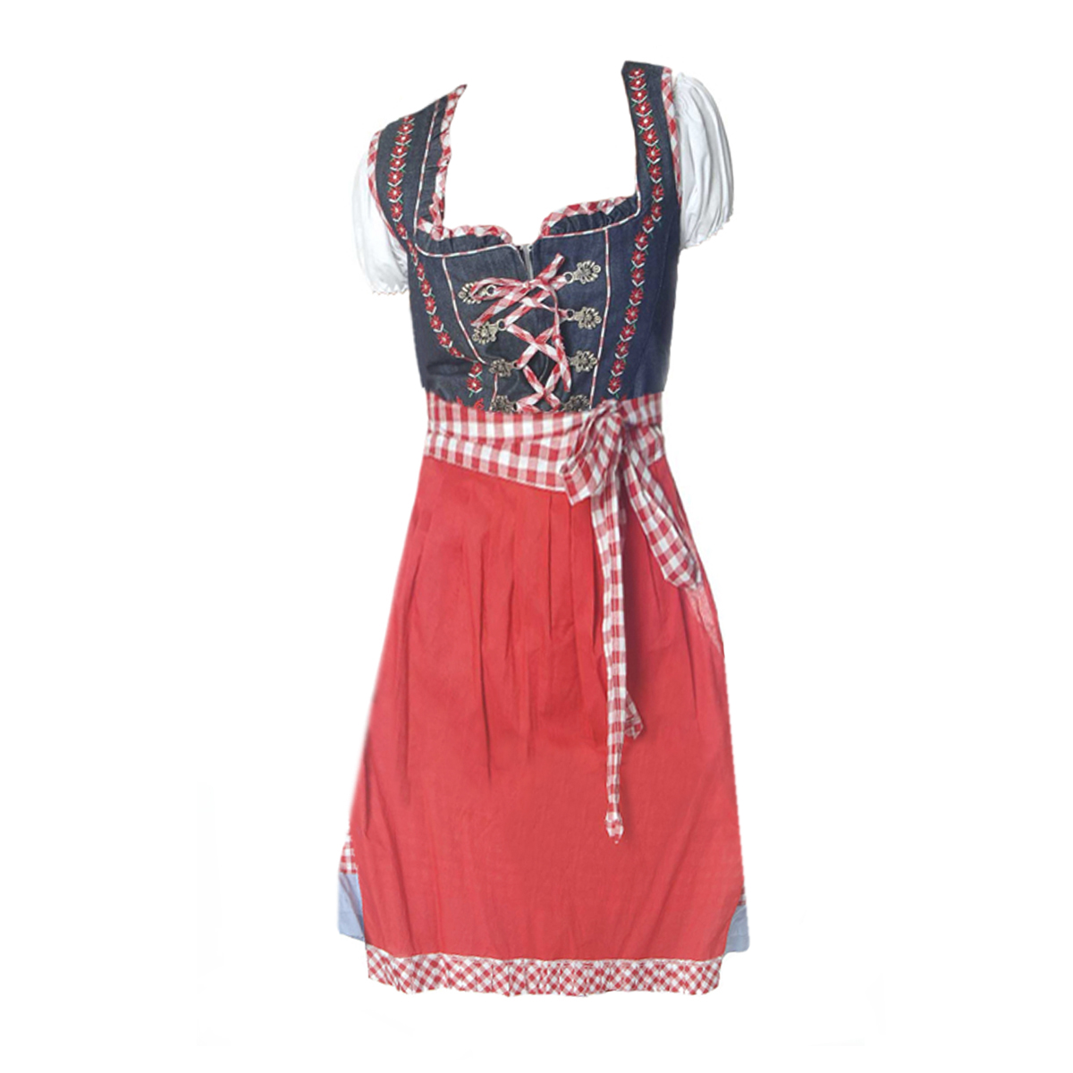 BLUE / RED LONG DIRNDL WITH JEAN BLOUSE