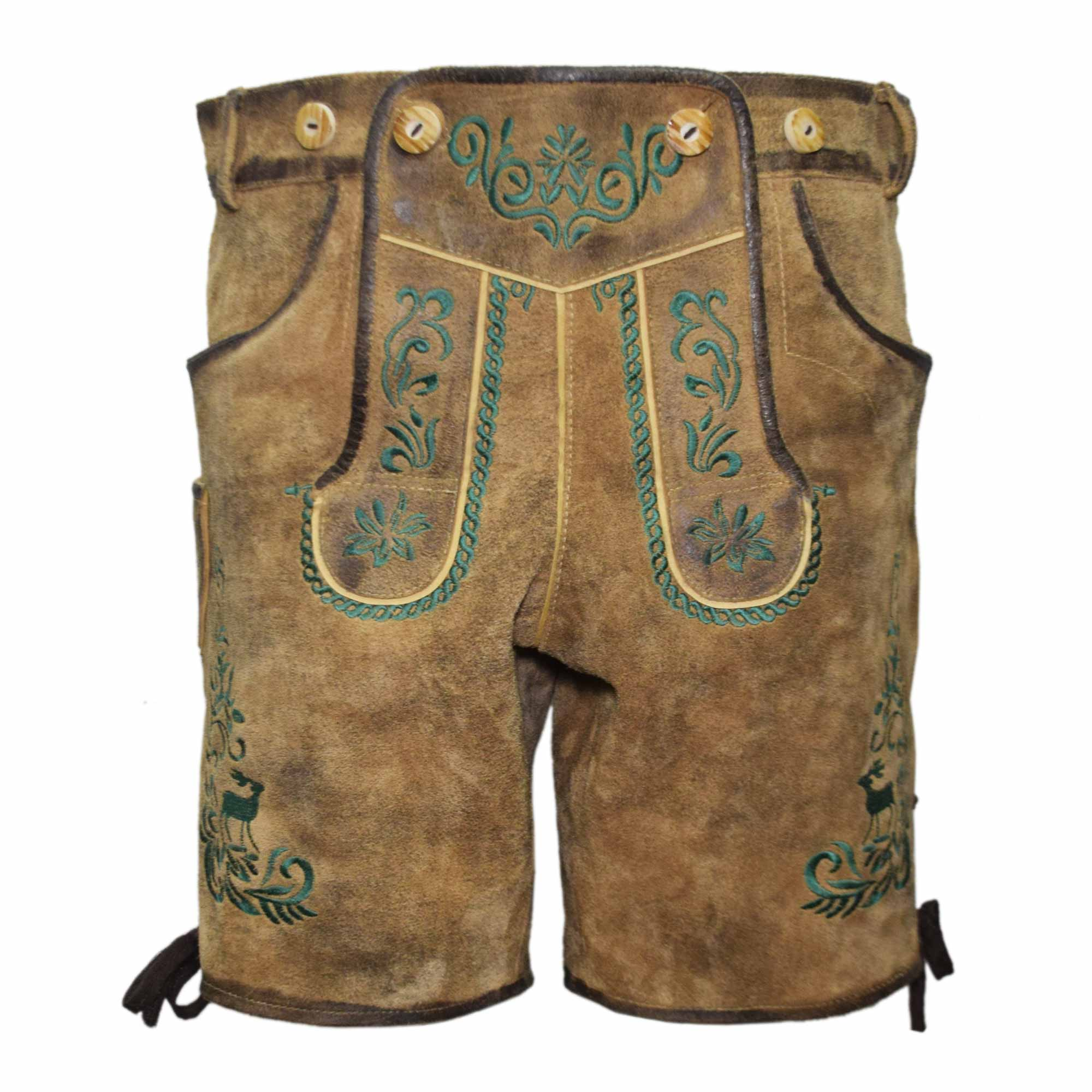 BROWN MEN SHORT LEDERHOSEN WITH GREEN ART WORK