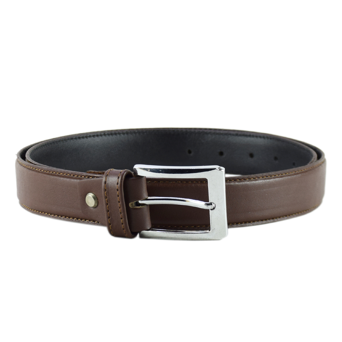 Brown Topstitched Formal Leather Belt 1.25""
