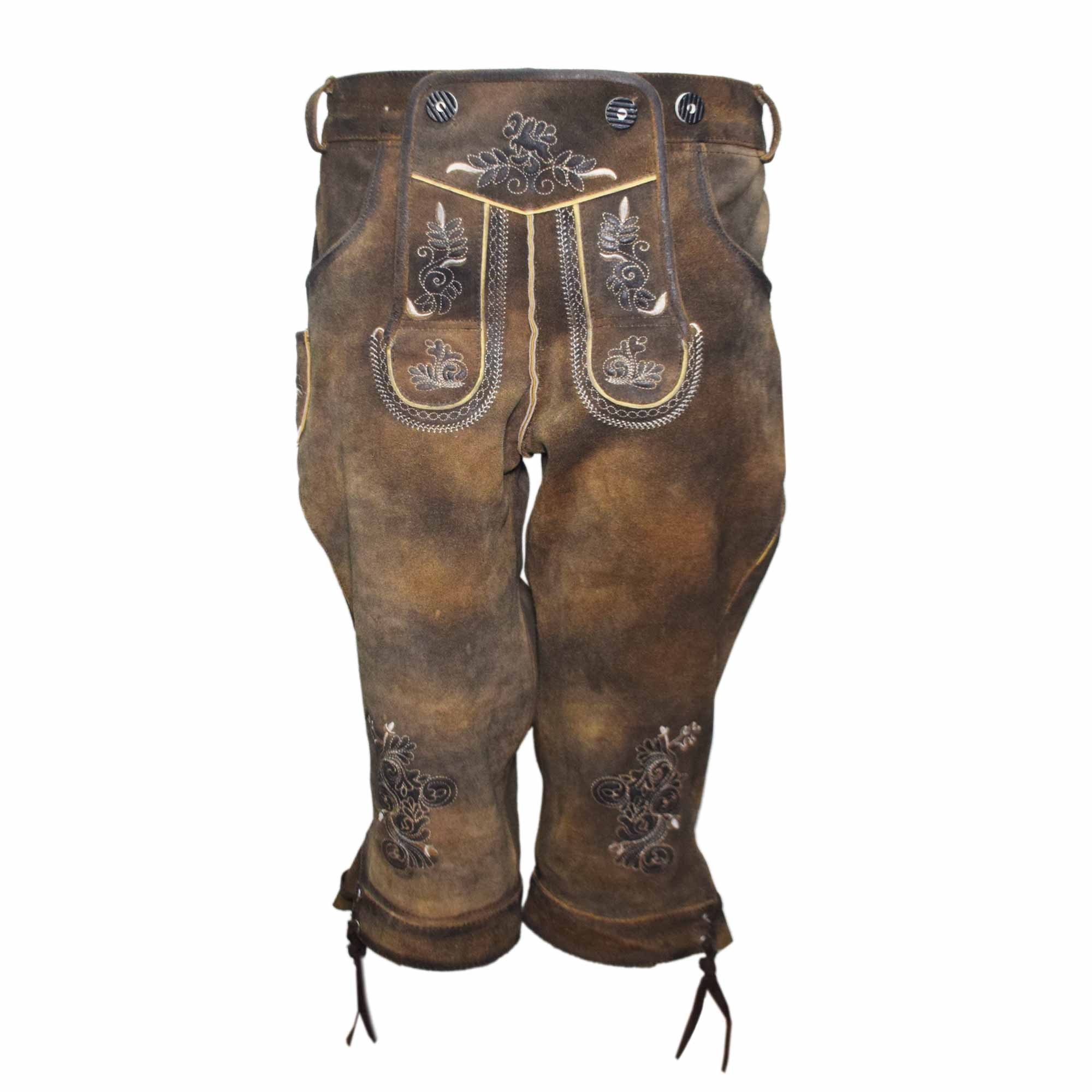 DARK BROWN MEN LONG LEDERHOSEN WITH SKIN ART WORK AND WAX ON IT