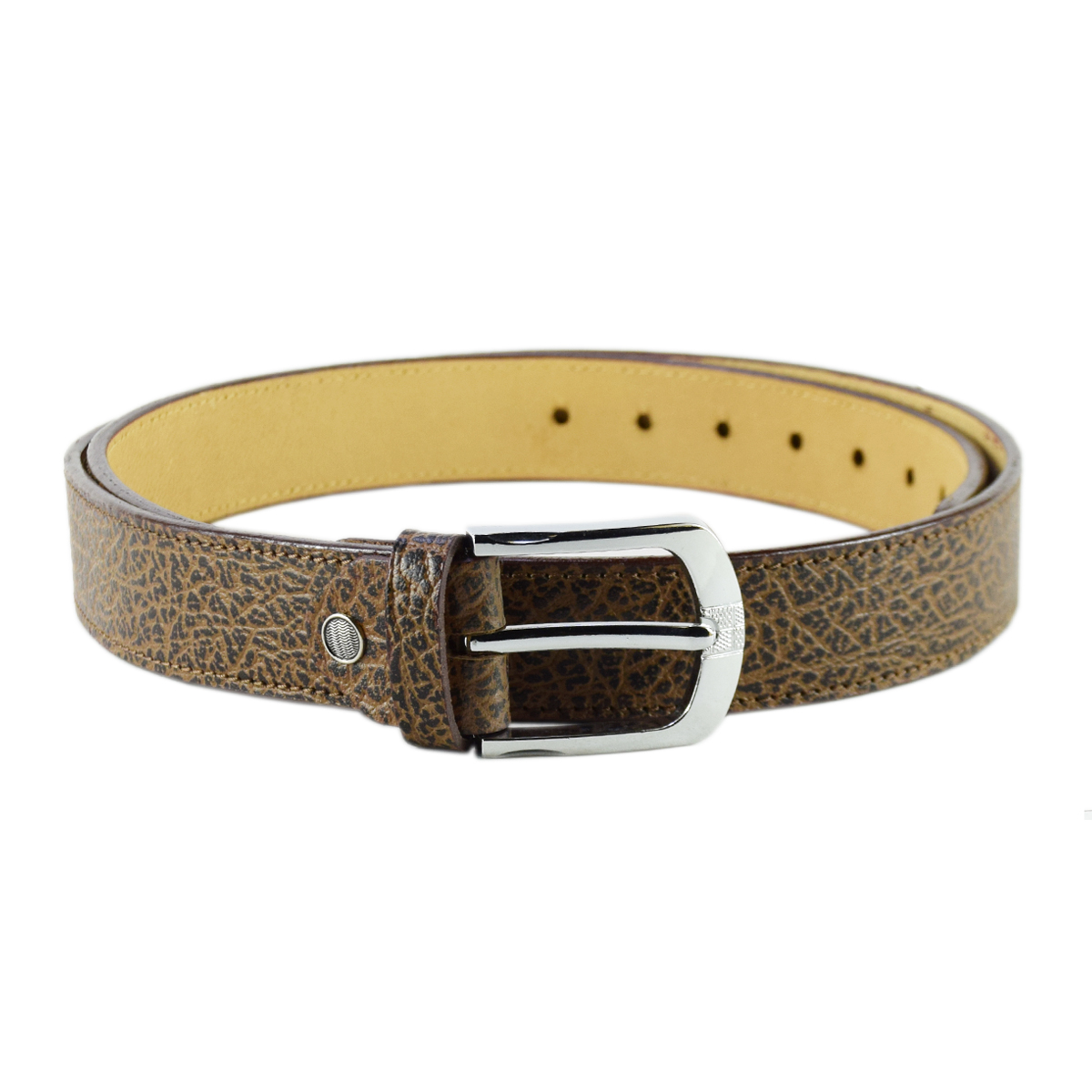 Brown Formal to Casual Leather Grain Belt 1.5""