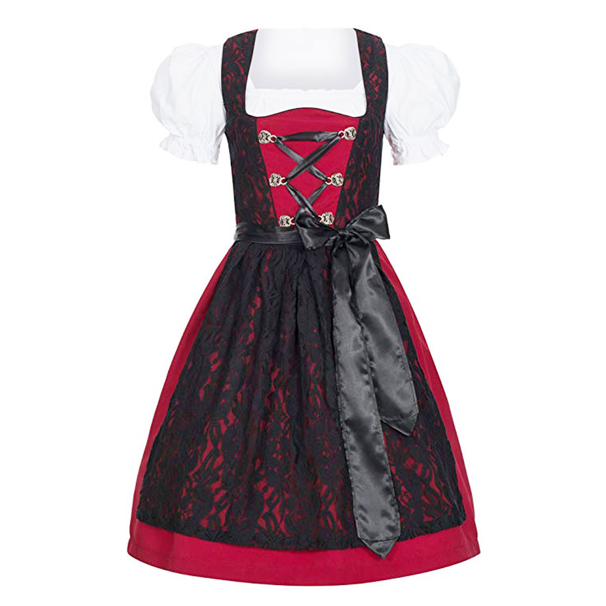 REDDISH DIRNDL WITH INTERLOCK BLACK NET